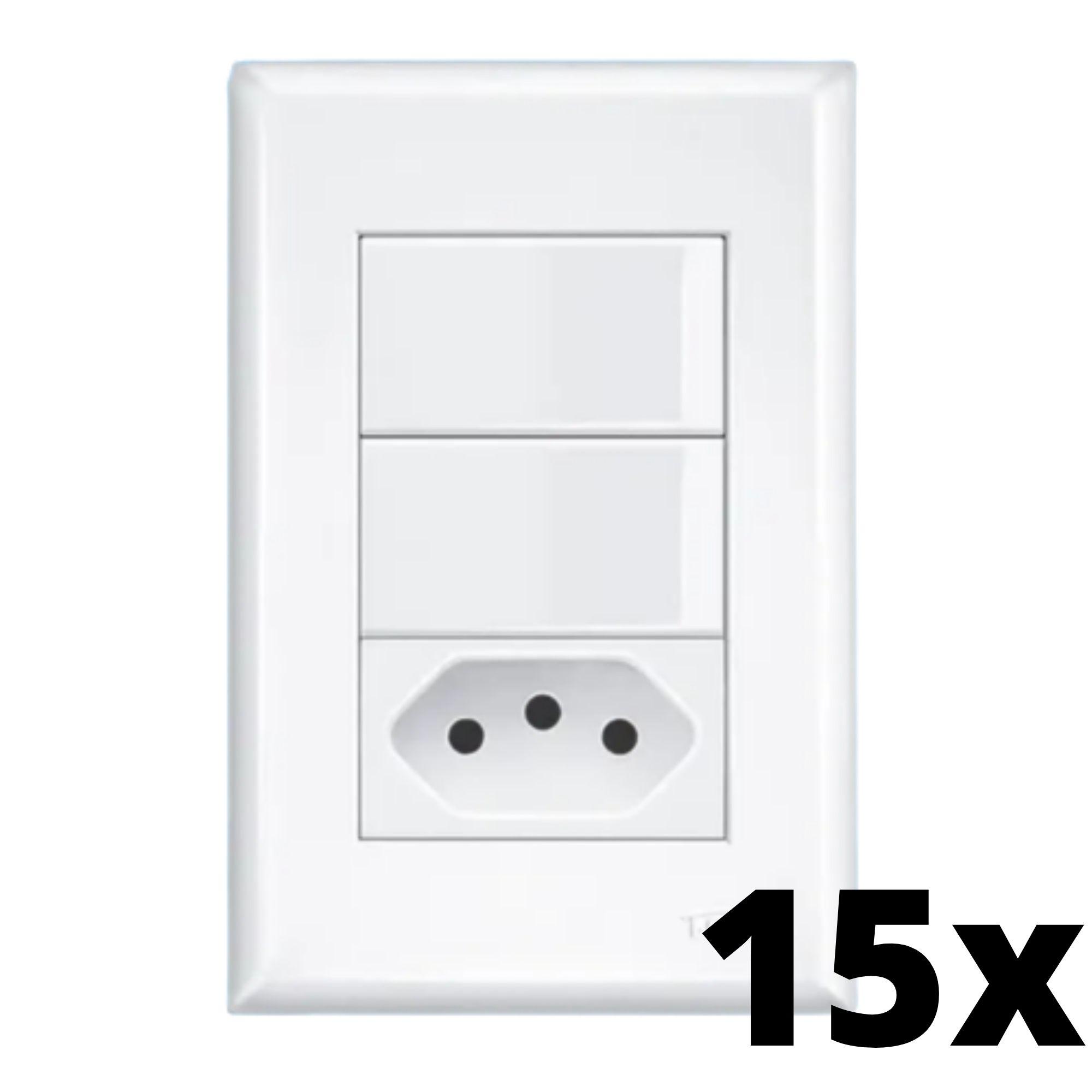 Kit 15 und Evidence 2Seções Interrupt Simples+1Seção Tomada 10A C Placa