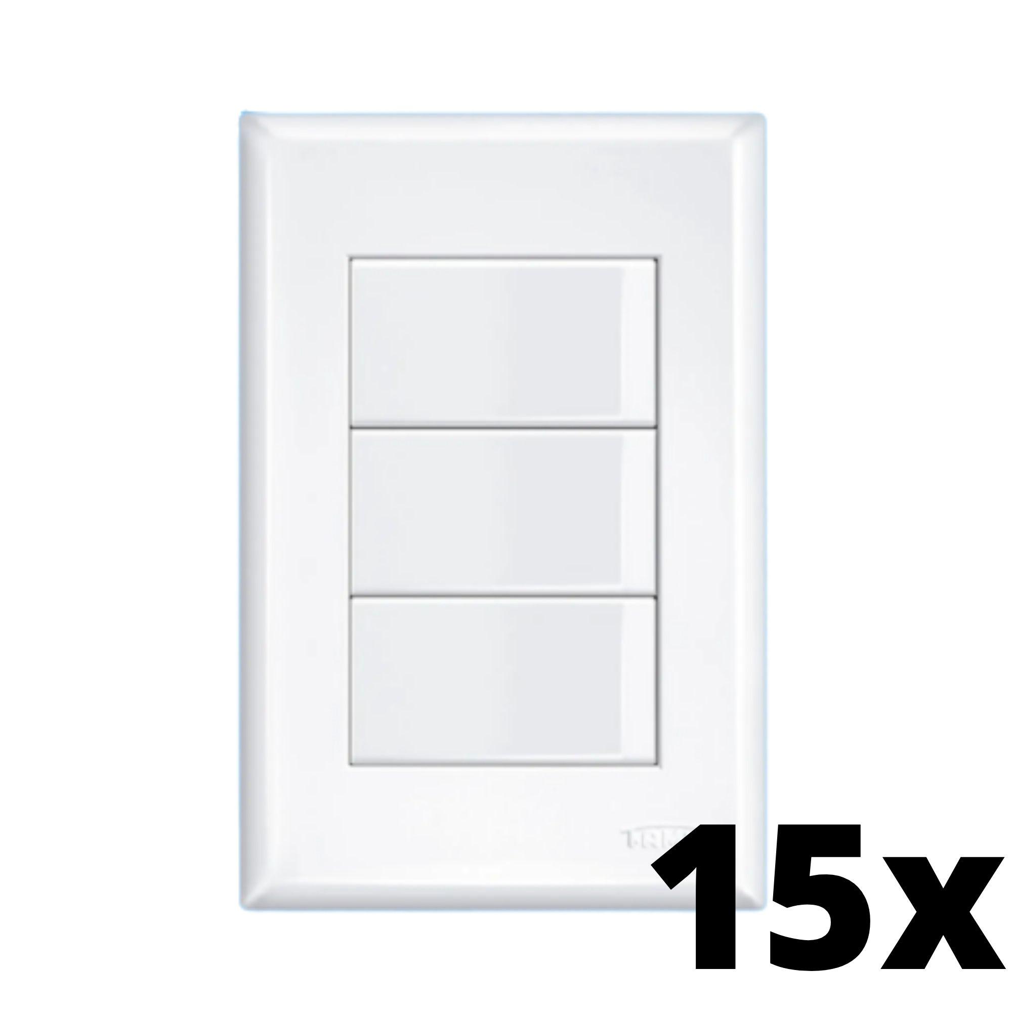 Kit 15 und Evidence 3 Seções de Interruptor Simples Com Placa