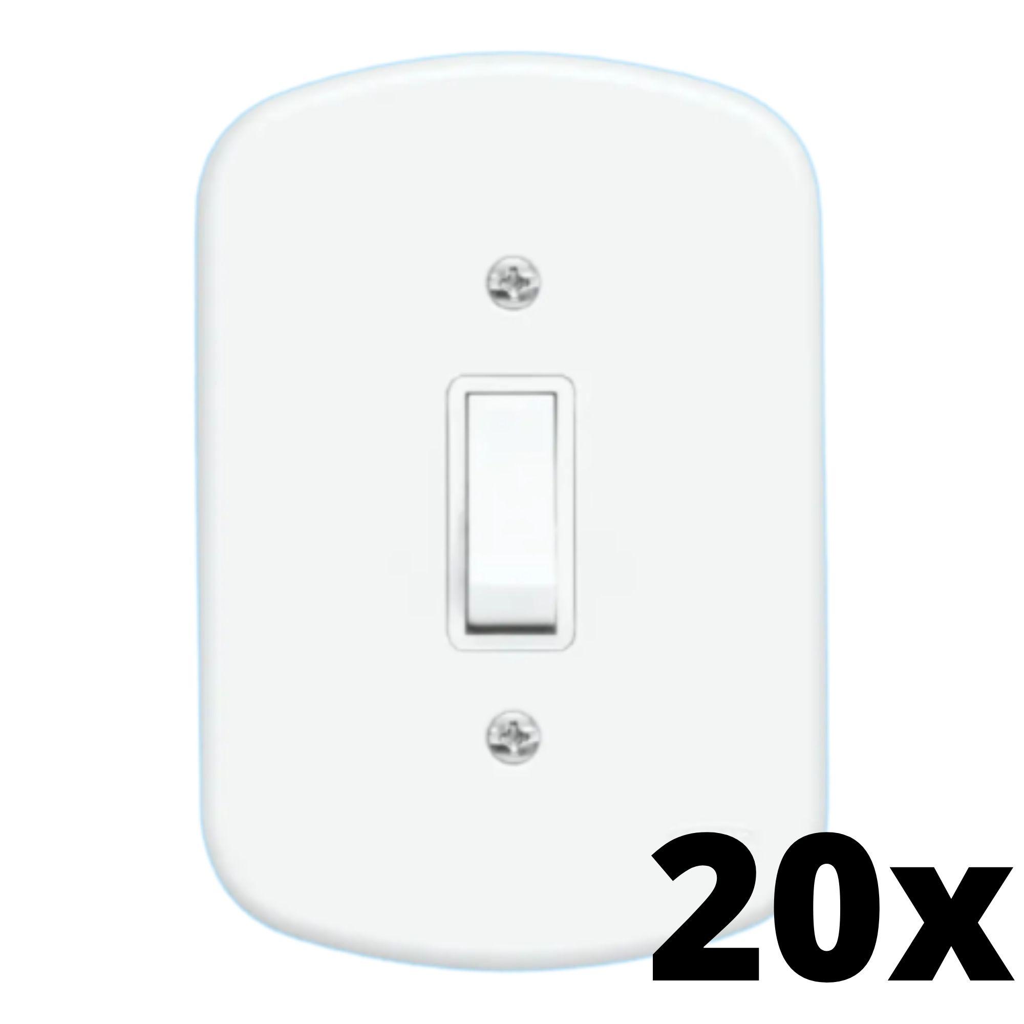 Kit 20 und Blanc 1 Seção de Interruptor Paralelo Com Placa