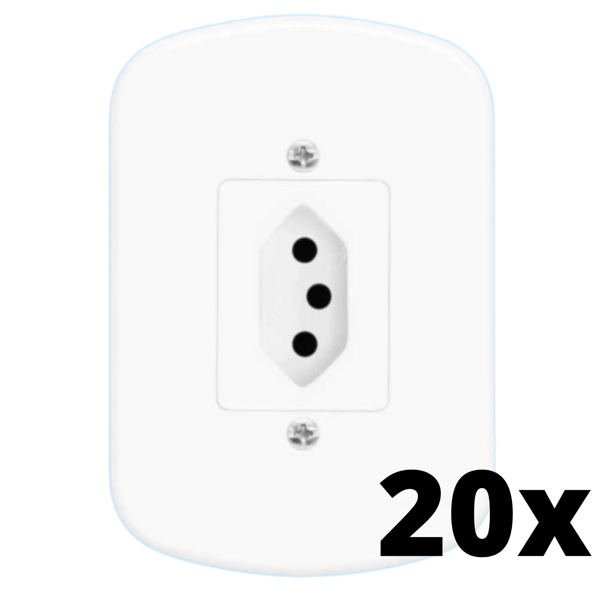 Kit 20 und Blanc 1 Seção de Tomada 20A Com Placa
