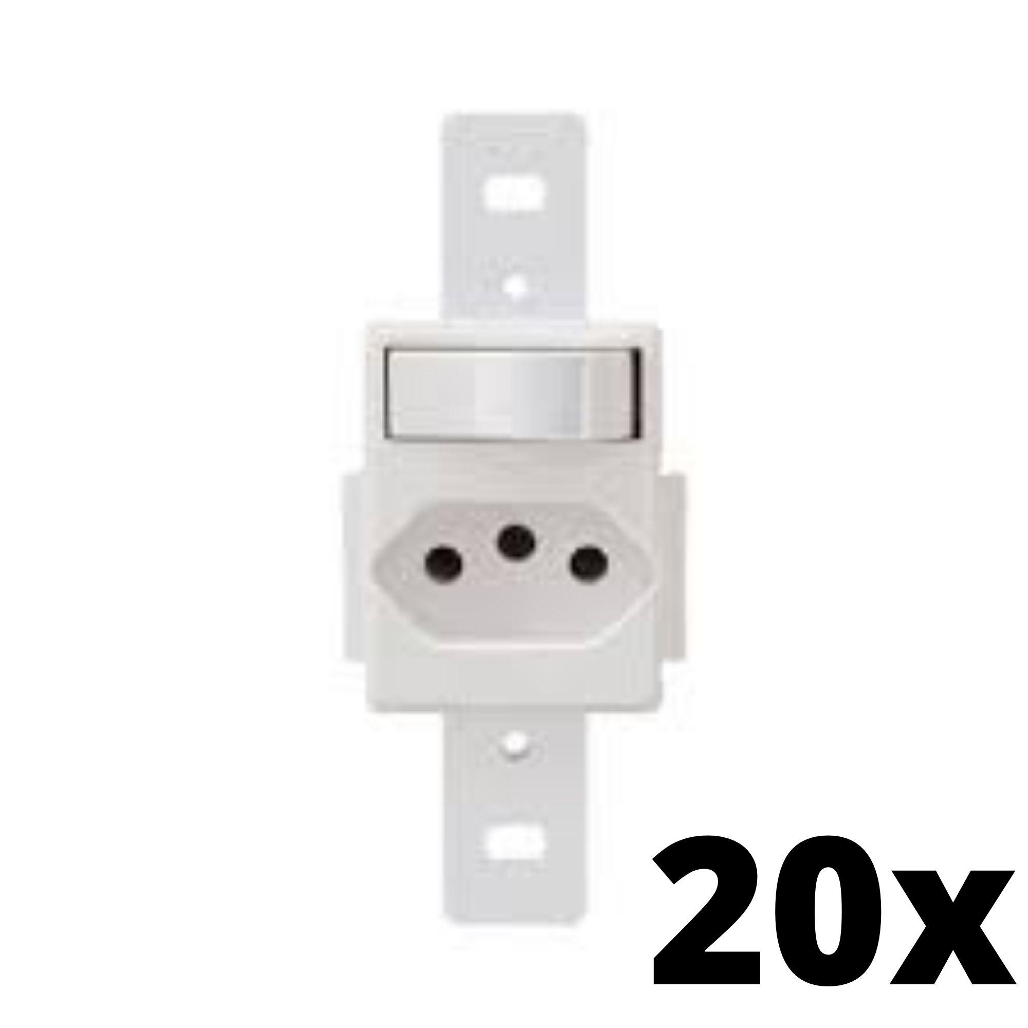 Kit 20 und Blanc 1Seção Interruptor Simples+1Seção Tomada 10A Sem Placa