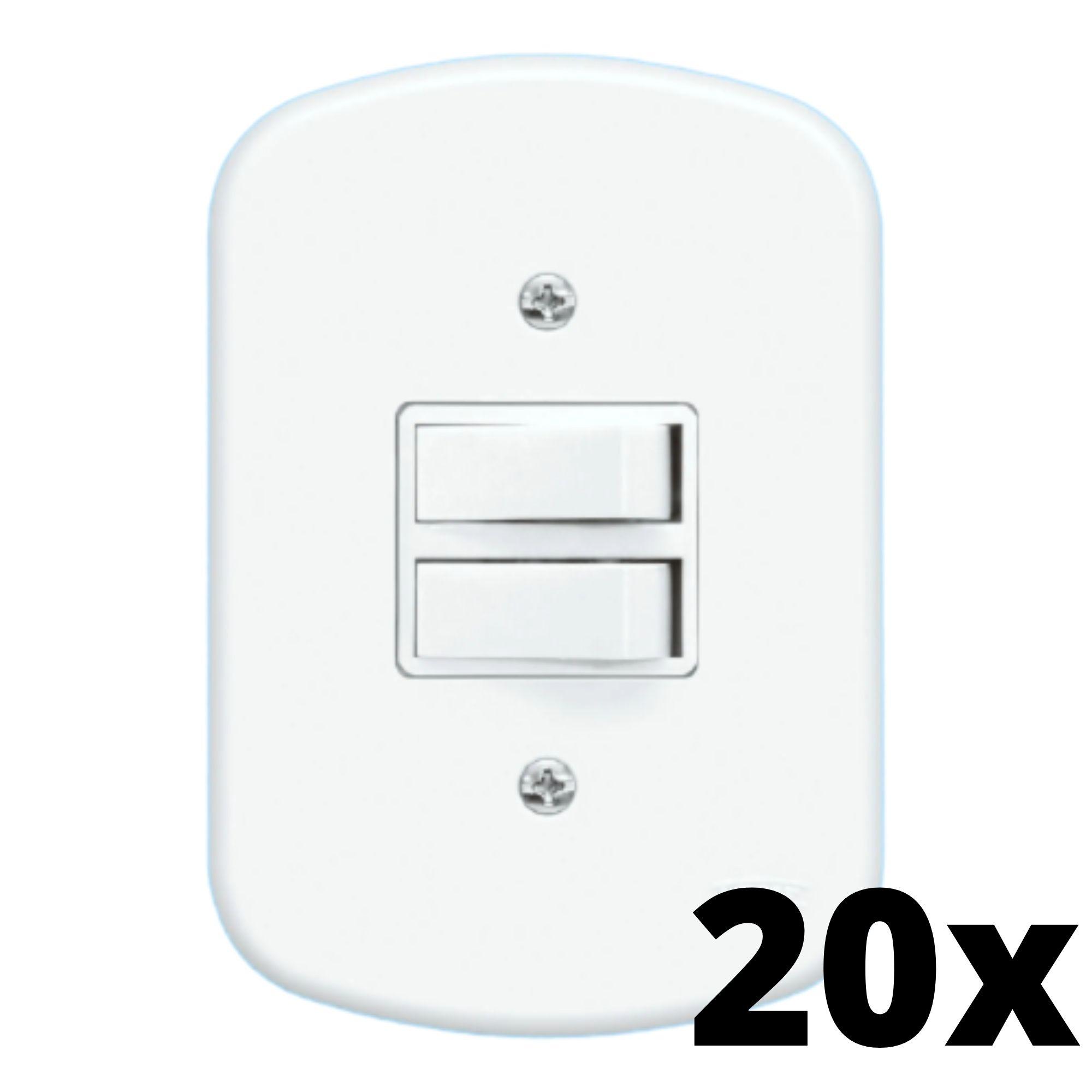 Kit 20 und Blanc 2 Seções de Interruptor Paralelo Com Placa