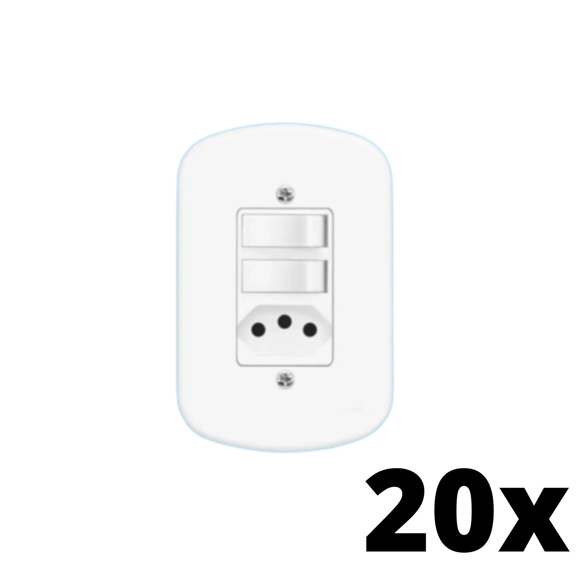 Kit 20 und  Blanc 2Seções Interruptor Simples+ 1Seção Tomada 10A C Placa