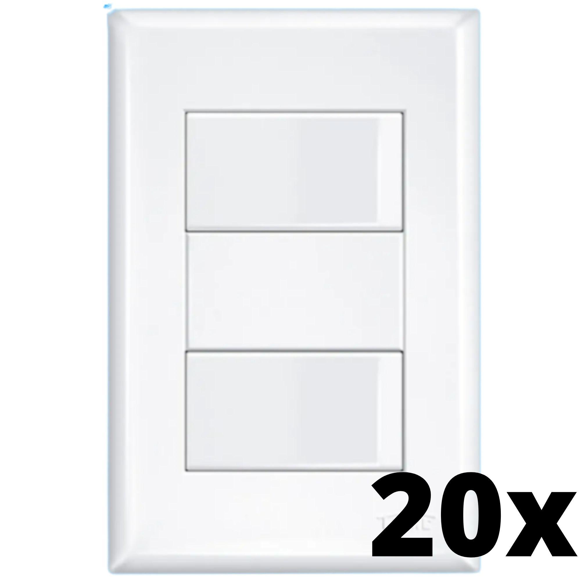Kit 20 und Evidence 2 Seções de Interruptor Simples Com Placa