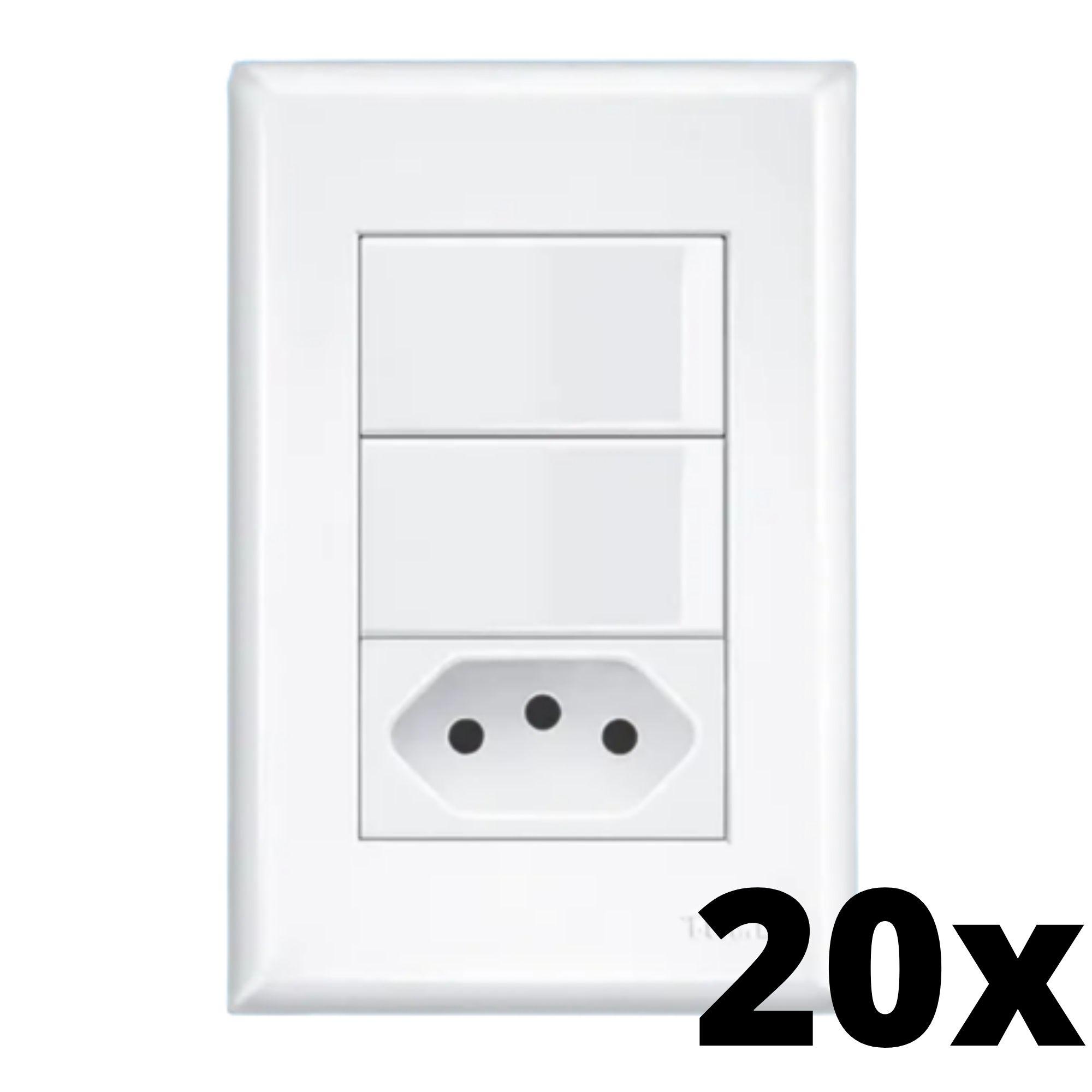 Kit 20 und Evidence 2Seções Interrupt Simples+1Seção Tomada 10A C Placa