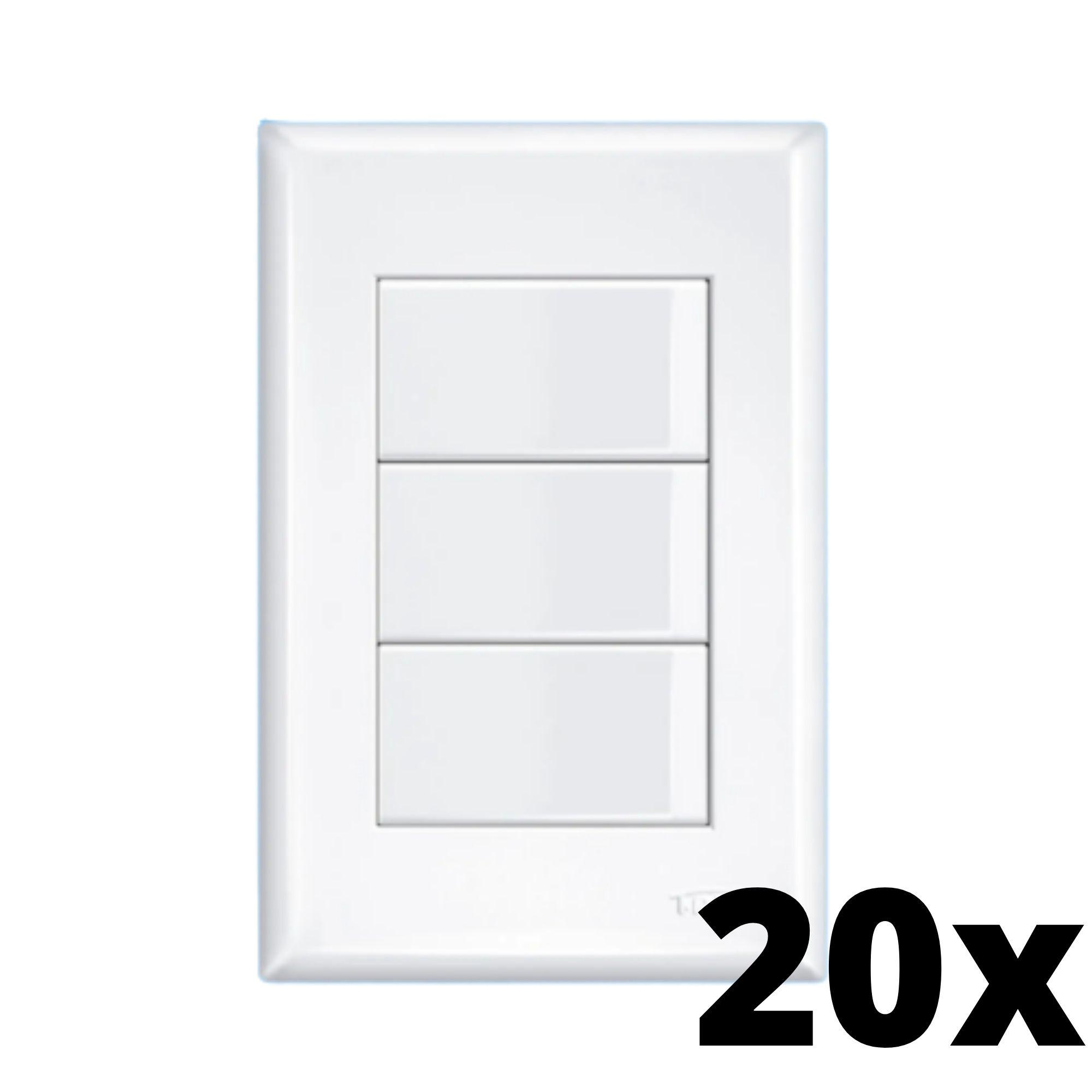 Kit 20 und Evidence 3 Seções de Interruptor Simples Com Placa