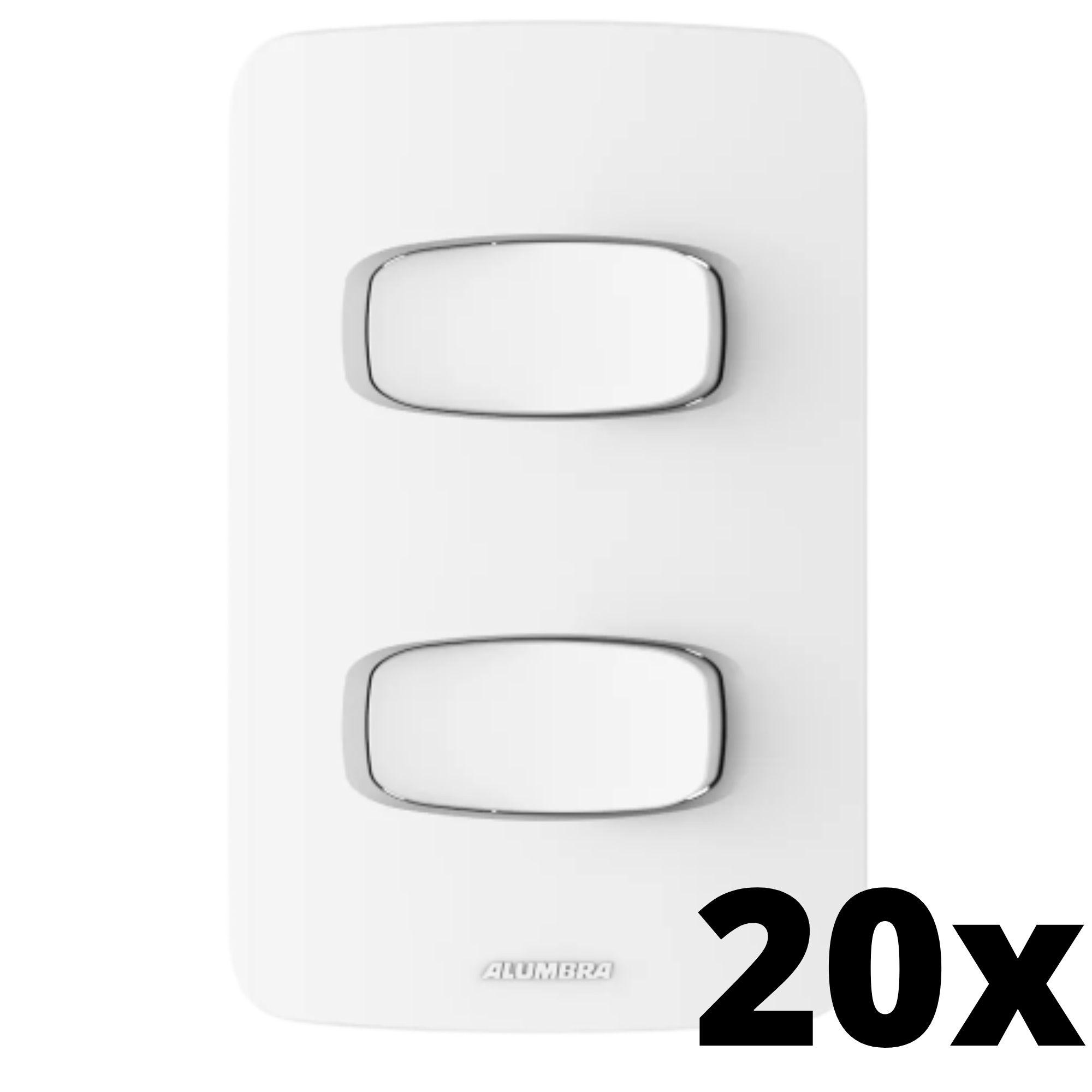 Kit 20 und Gracia 2 Seções de Interruptor Simples Com Placa