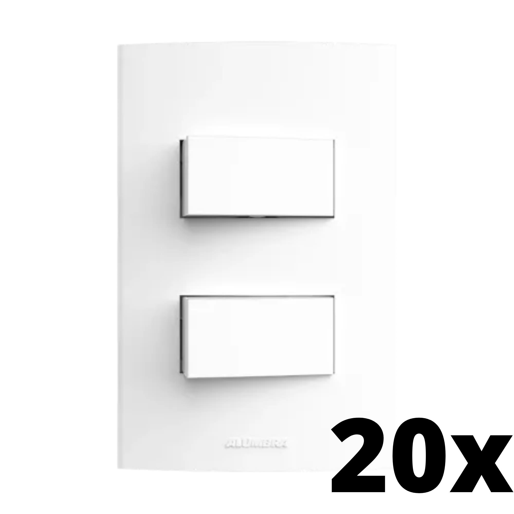 Kit 20 und Inova Pró 2 Seções de Interruptor Simples Com Placa