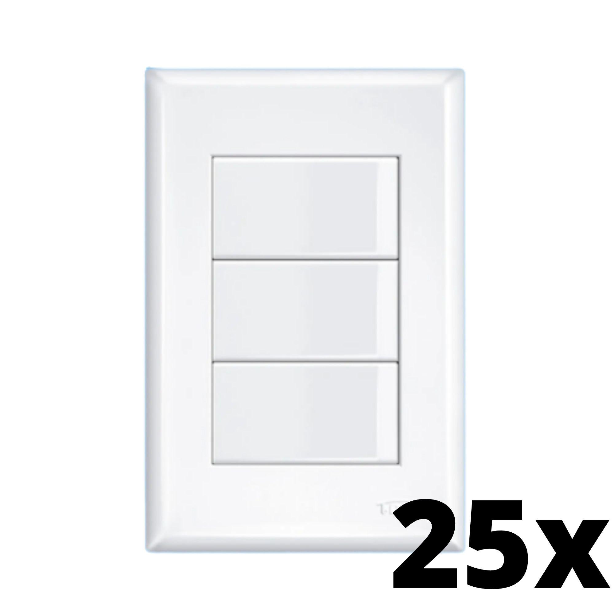 Kit 25 Evidence 3 Seções de Interruptor Simples Com Placa