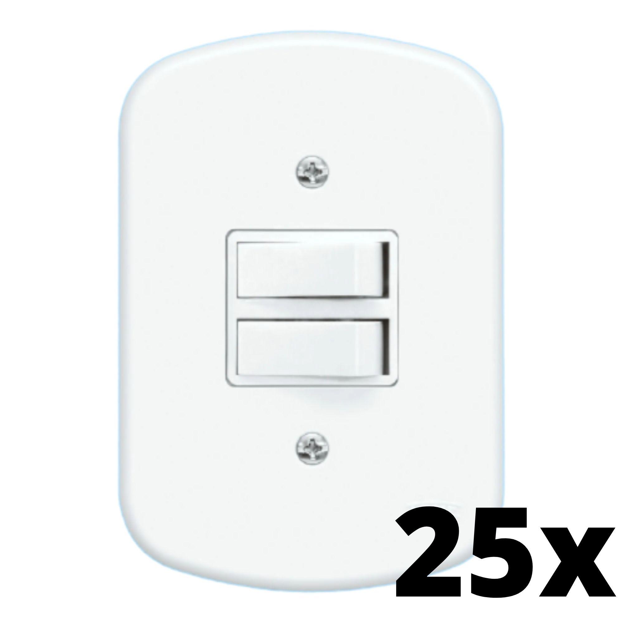 Kit 25 und Blanc 2 Seções de Interruptor Paralelo Com Placa
