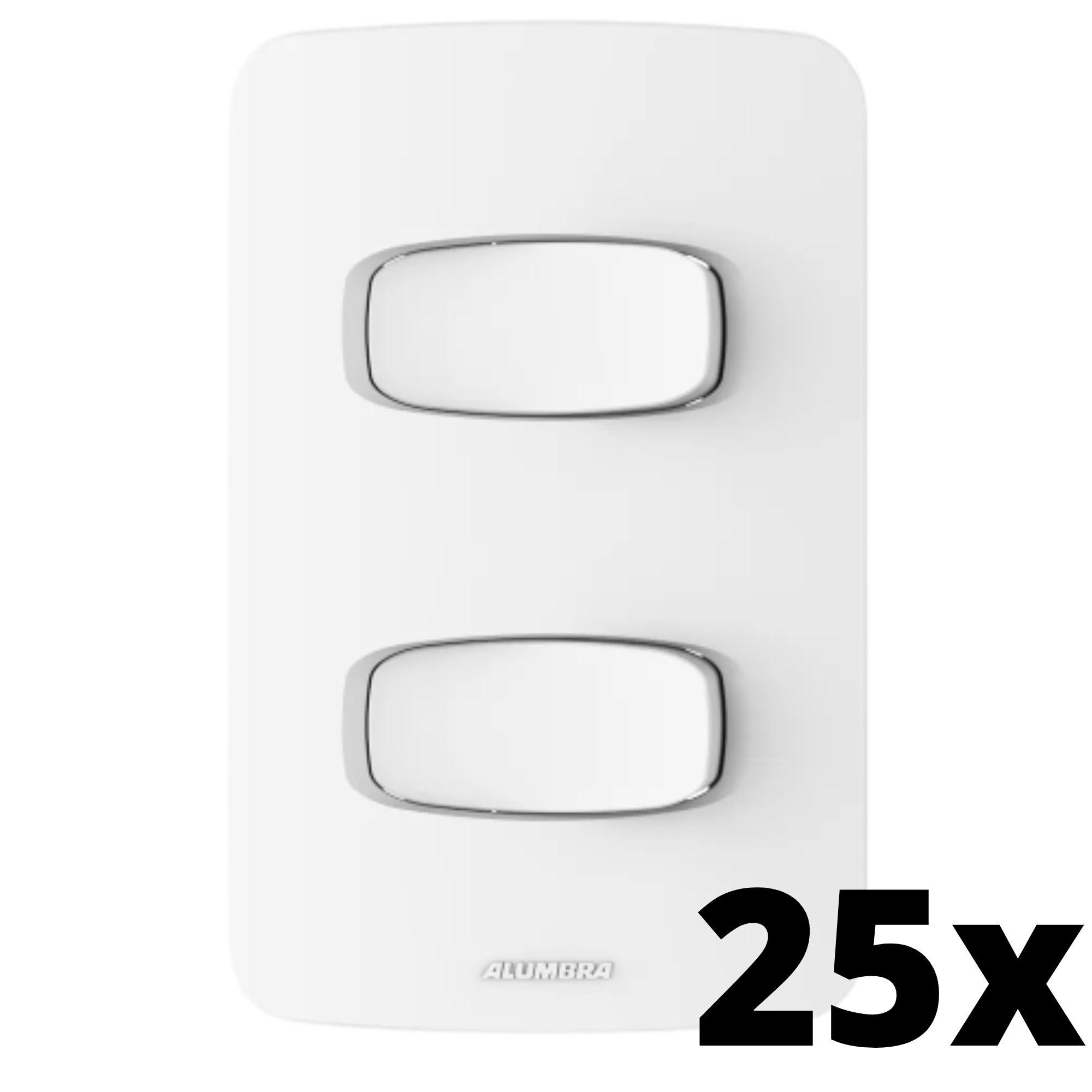 Kit 25 und Gracia 2 Seções de Interruptor Simples Com Placa