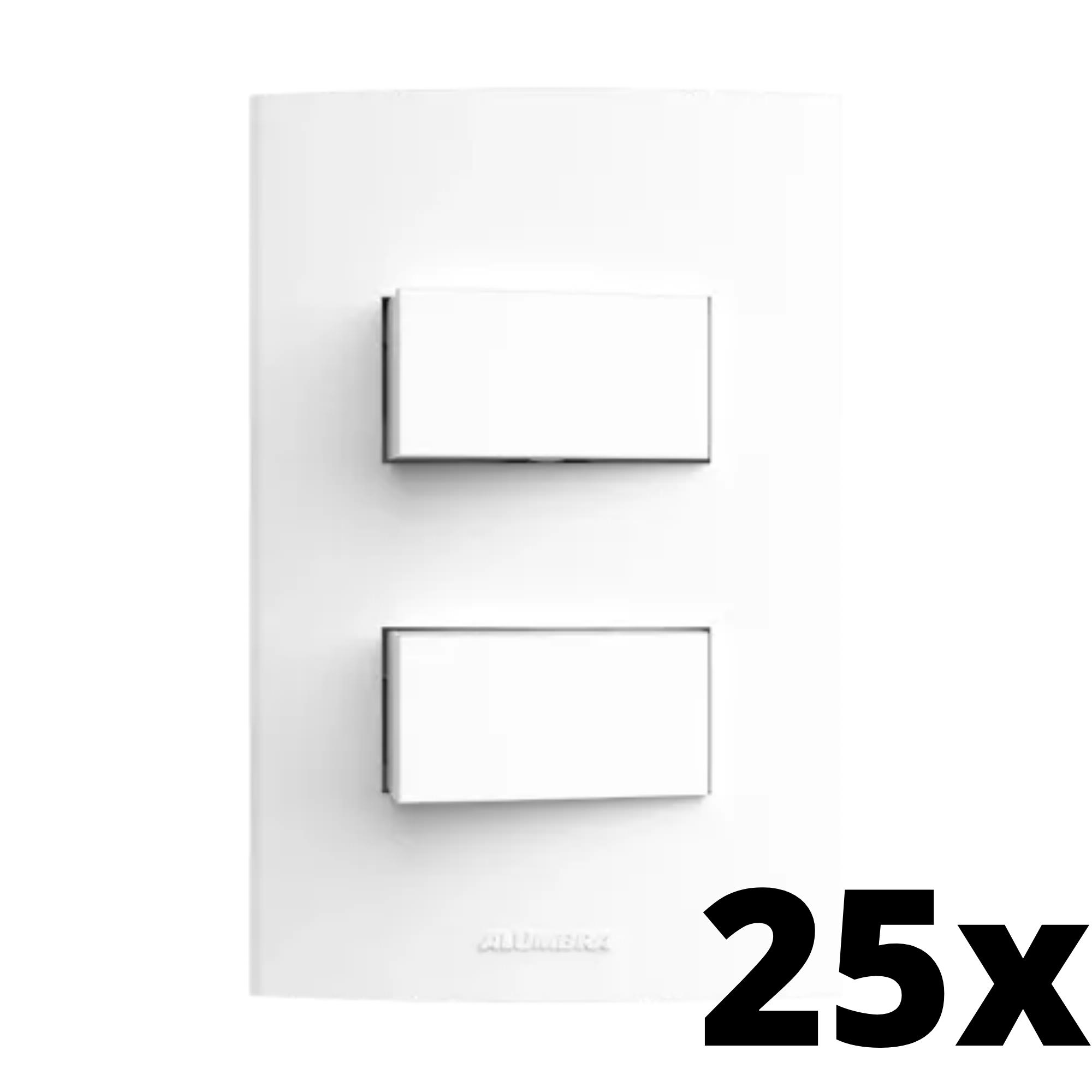 Kit 25 und Inova Pró 2 Seções de Interruptor Simples Com Placa