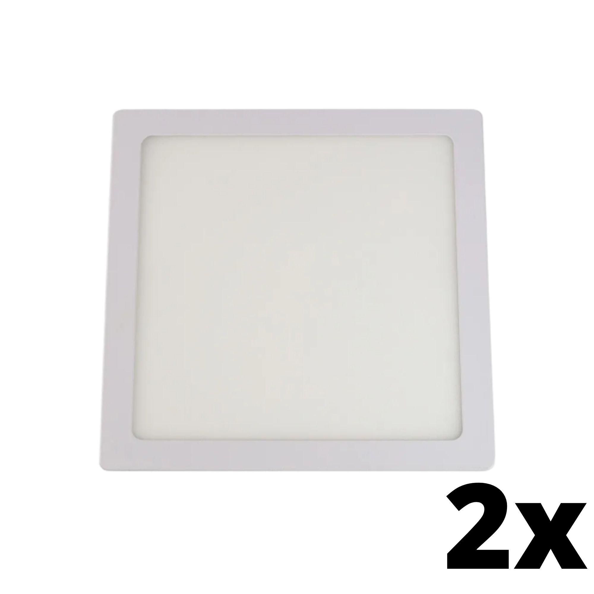 Kit 2 und Painel de Led Embutir 24w Quadrado 3000k
