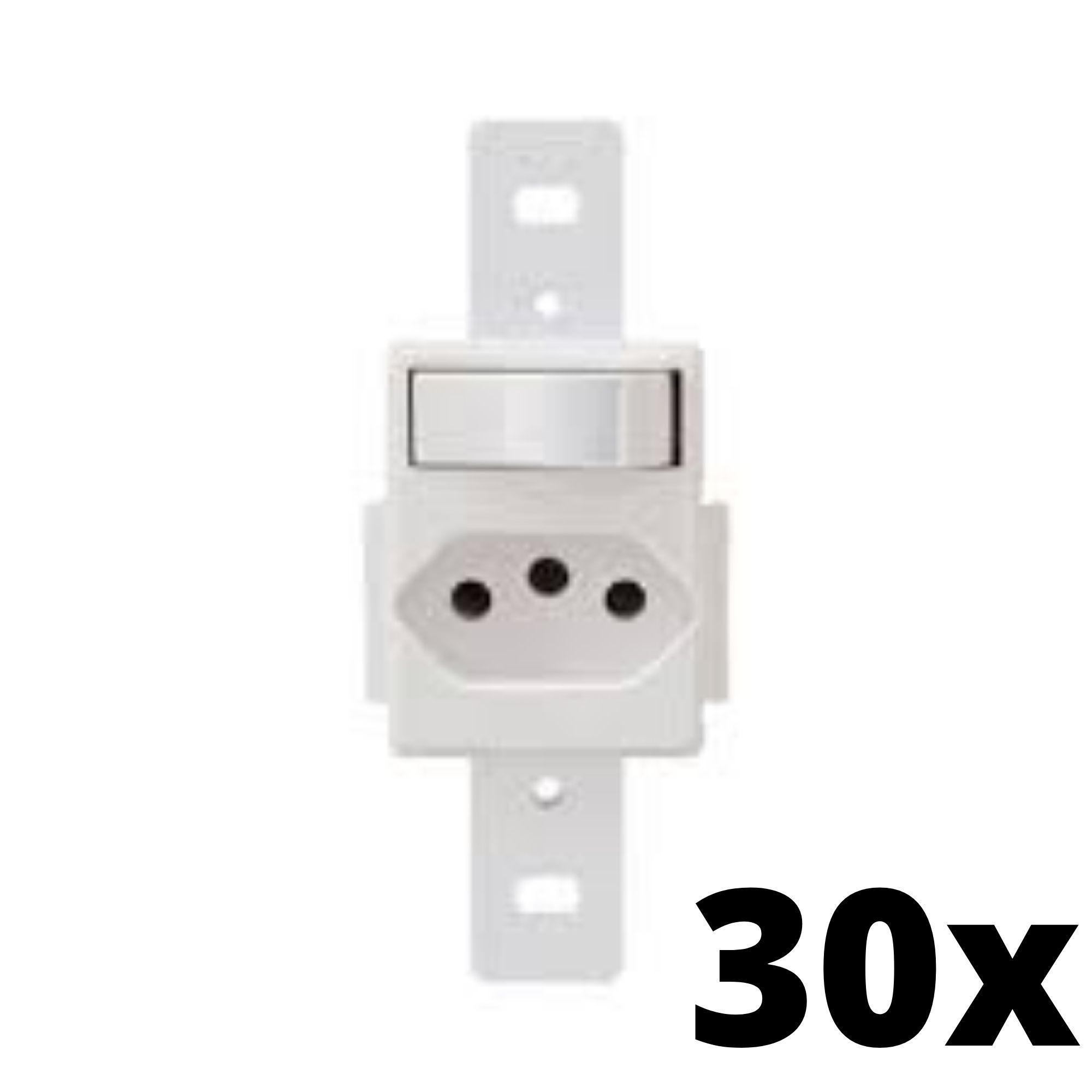 Kit 30 und  Blanc 1Seção Interruptor Simples+1Seção Tomada 10A Sem Placa