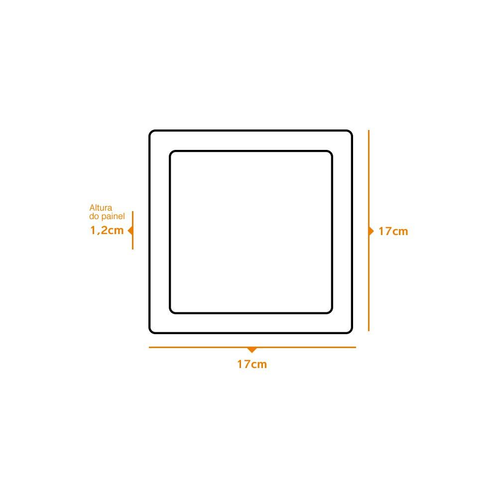 Kit 3 und Painel de Led Embutir 12w Quadrado 3000k