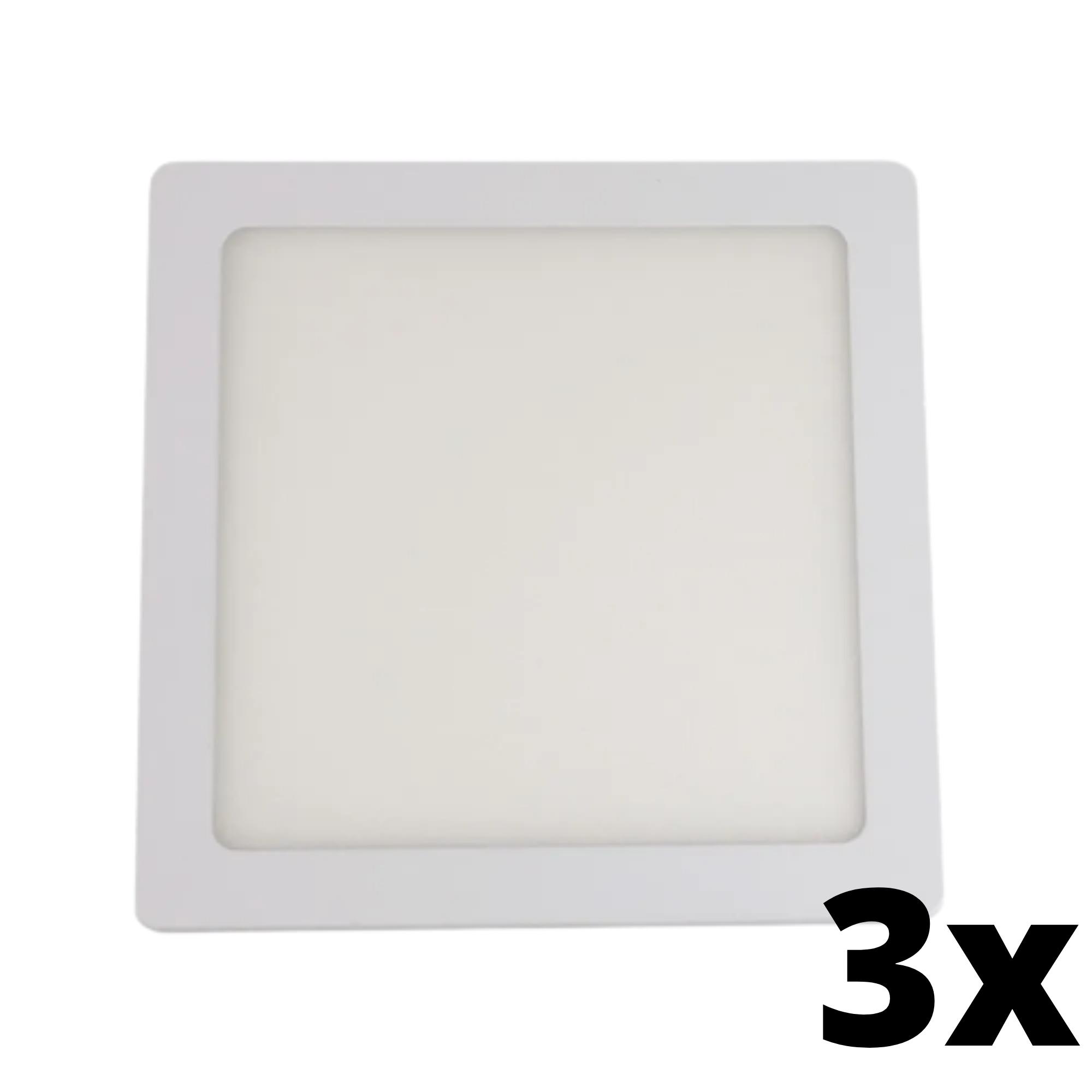 Kit 3 und Painel de Led Embutir 12w Quadrado 6500k