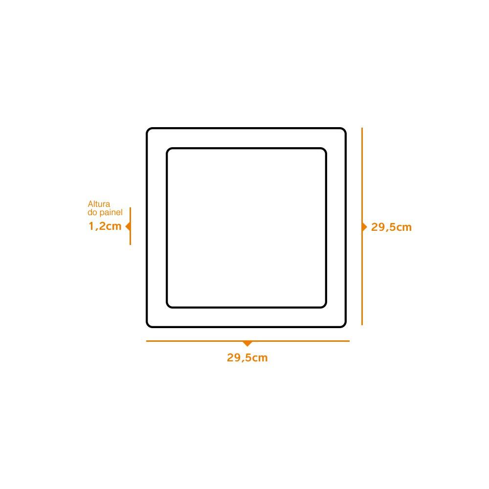 Kit 3 und Painel de Led Embutir 24w Quadrado 6500k
