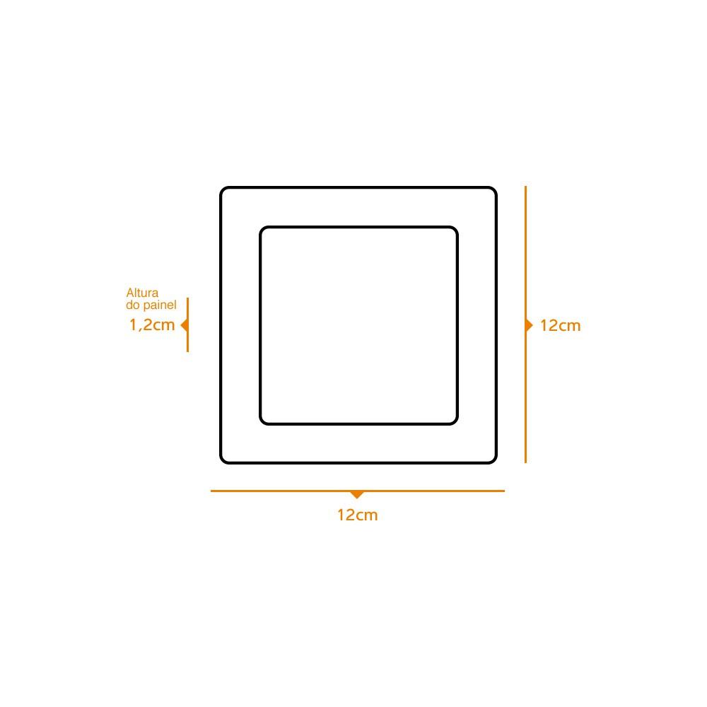 Kit 3 und Painel de Led Embutir 6w Quadrado 6500k