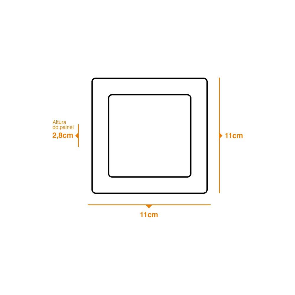 Kit 3 und Painel de Led Sobrepor 6w Quadrado 6500k