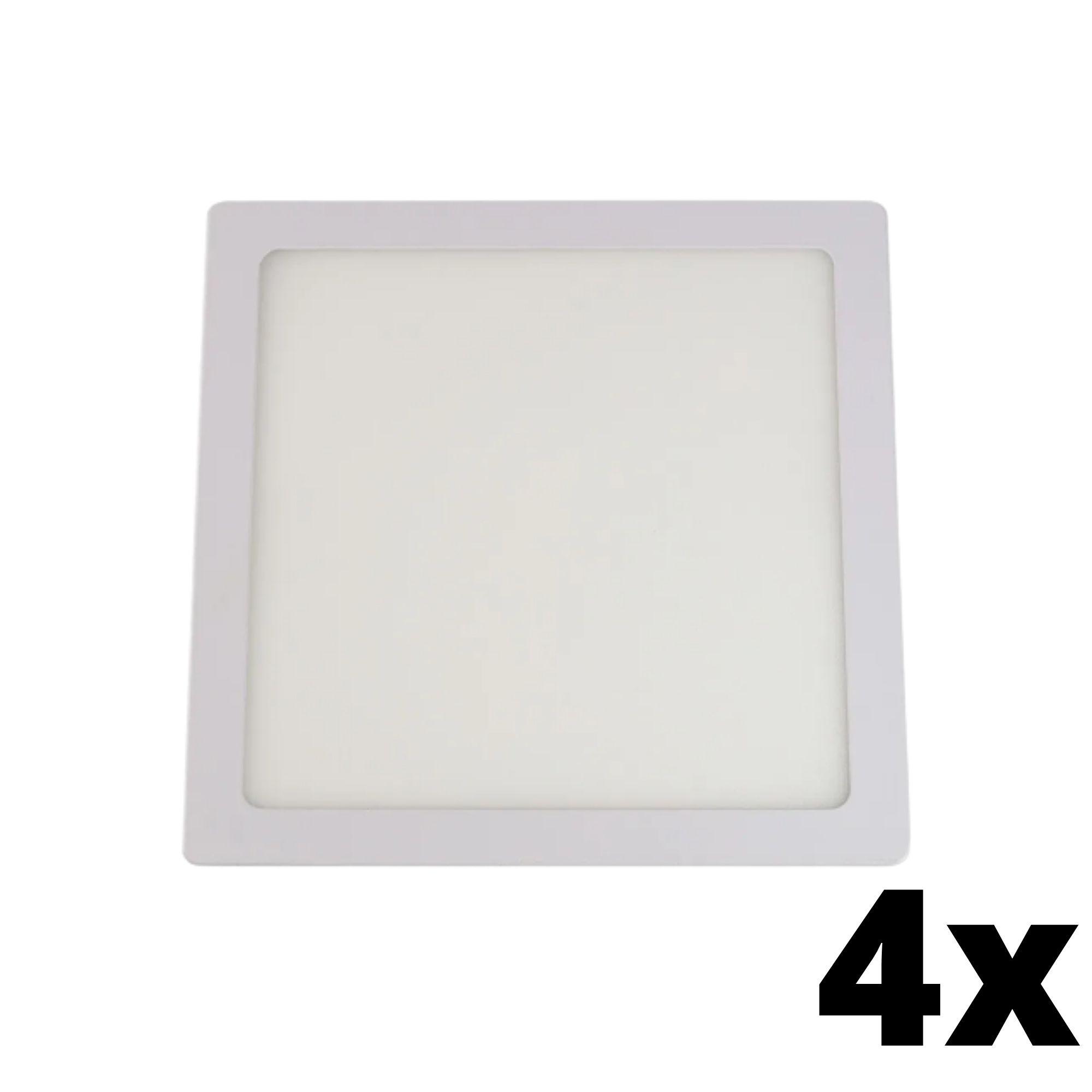 Kit 4 und Painel de Led Embutir 18w Quadrado 6500k
