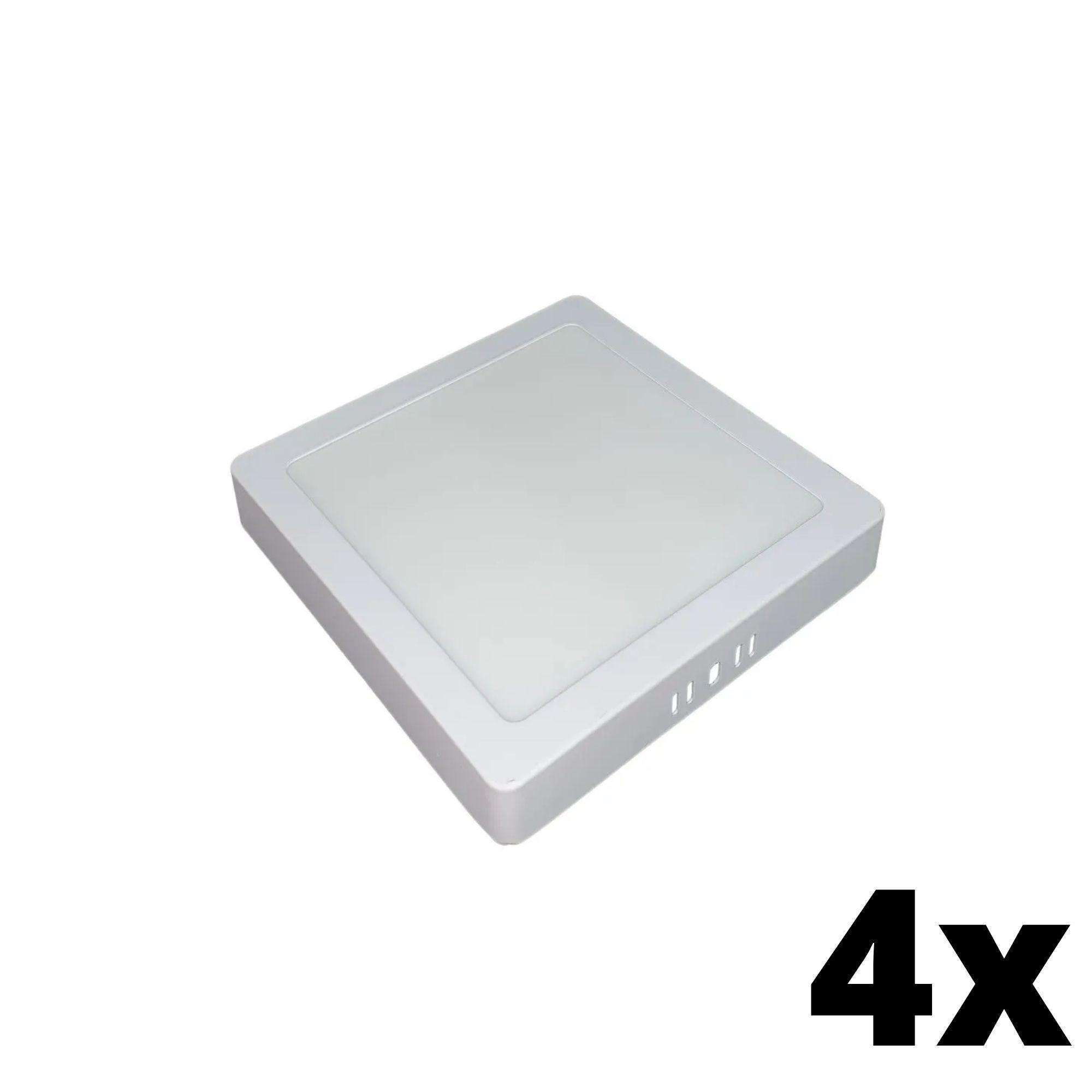 Kit 4 und Painel de Led Sobrepor 18w Quadrado 6500k