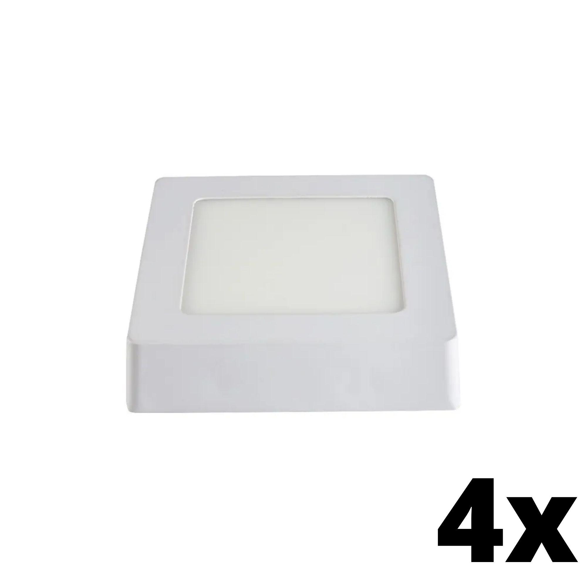Kit 4 und Painel de Led Sobrepor 6w Quadrado 6500k