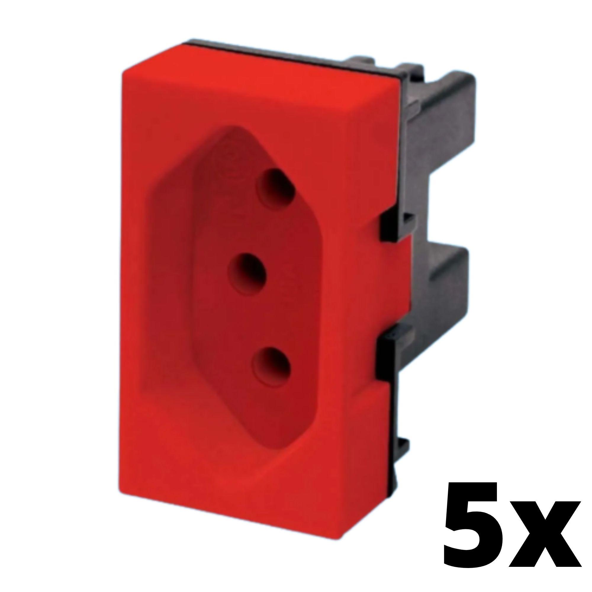 Kit 5 Evidence Módulo de Tomada 20A Vermelha