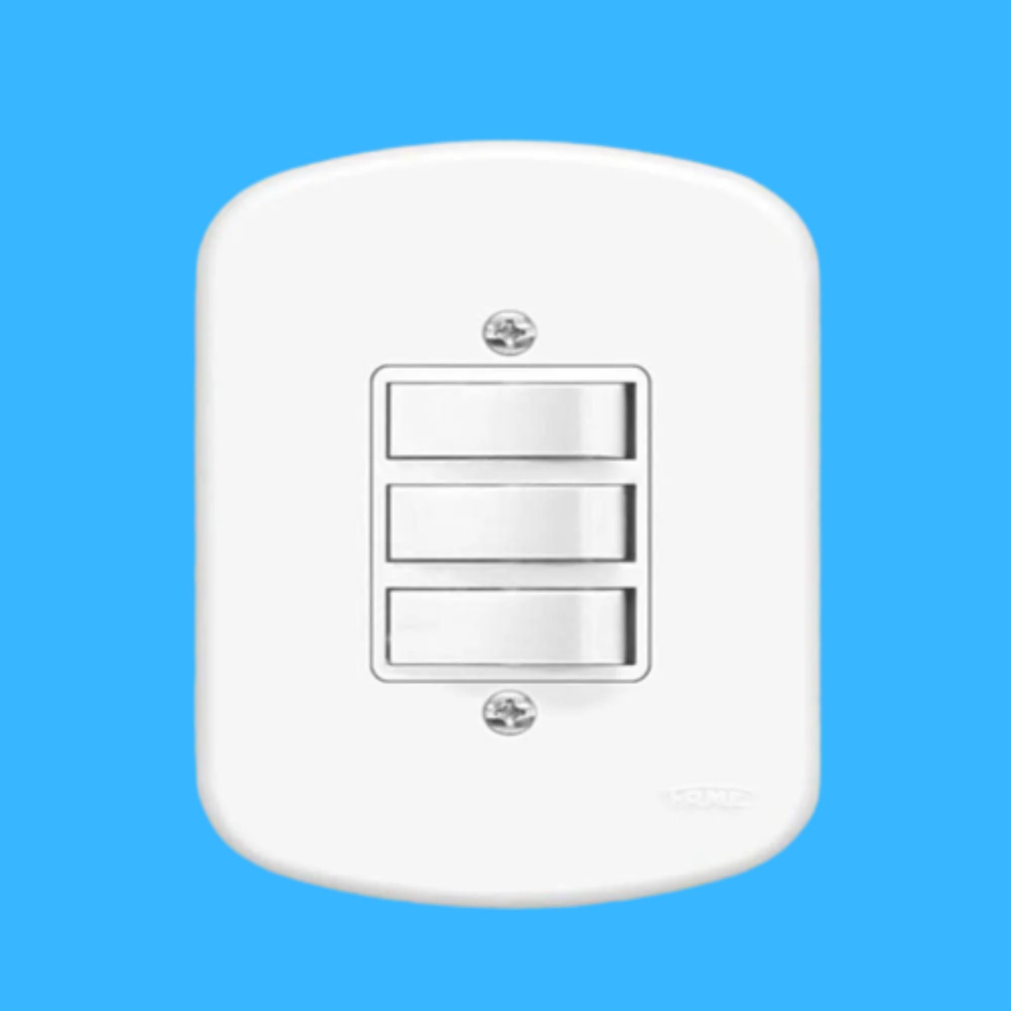 Kit 5 und Blanc 3 Seções de Interruptor Simples Com Placa