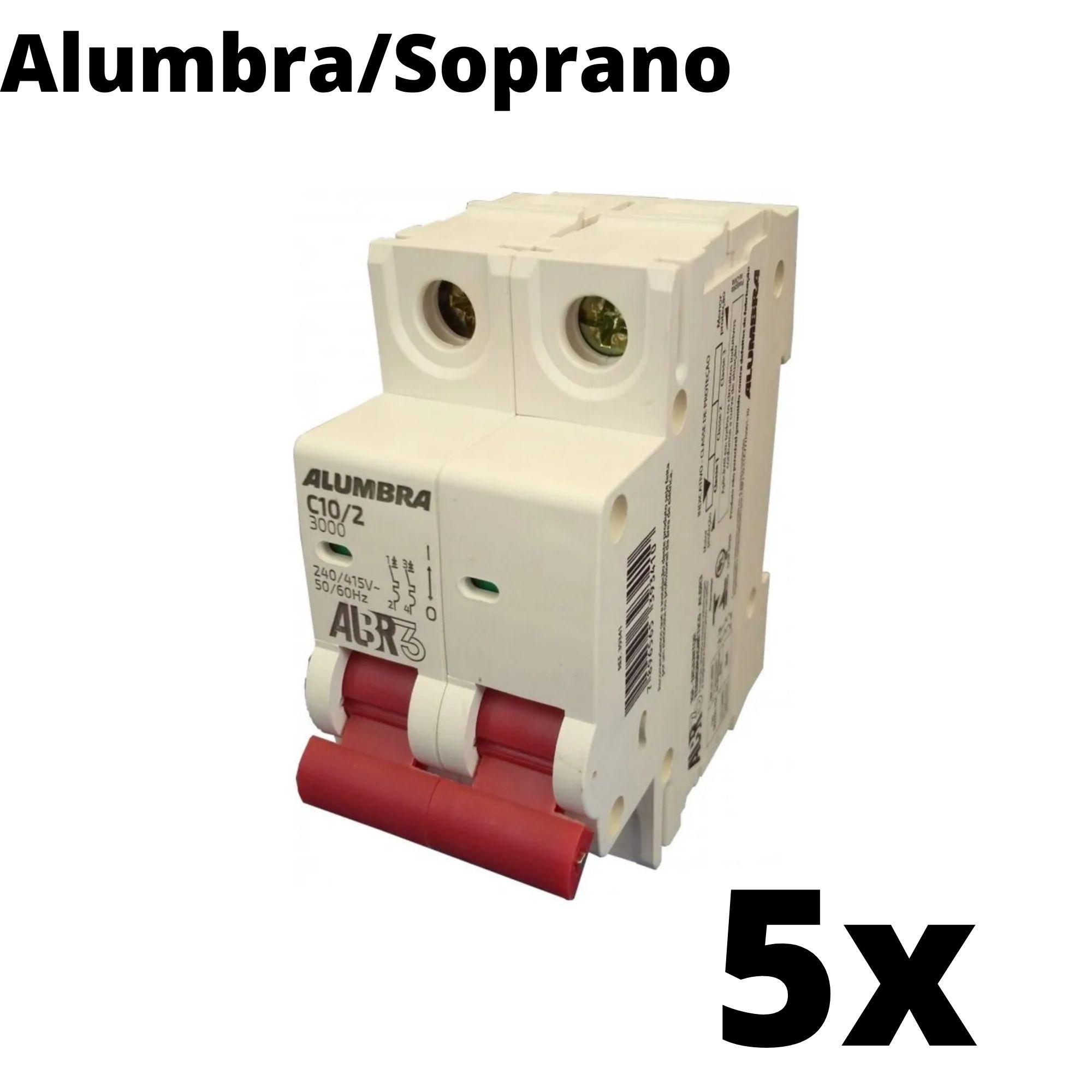 Kit 5 und Disjuntor Din Bipolar 10A