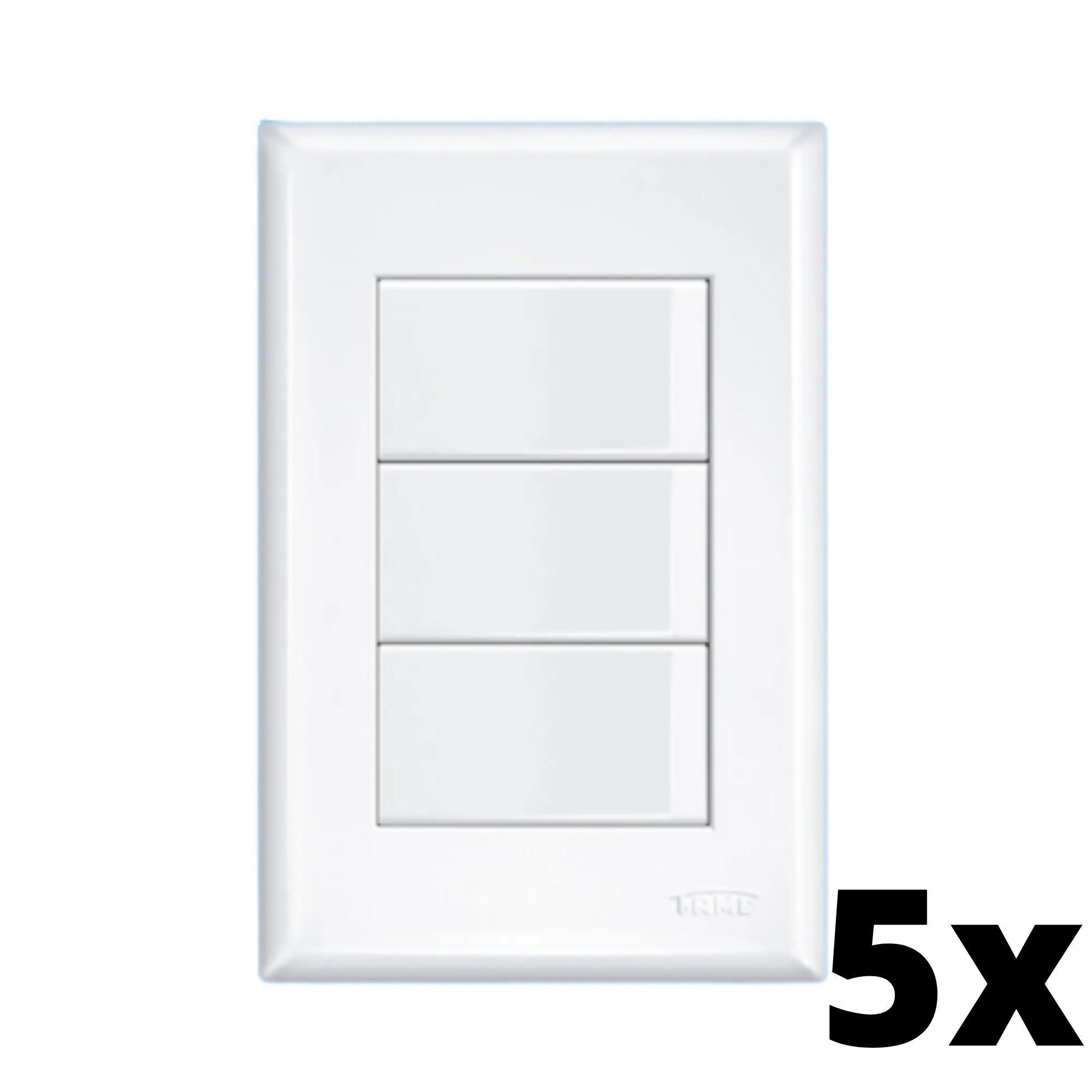 Kit 5 und Evidence 3 Seções de Interruptor Simples Com Placa