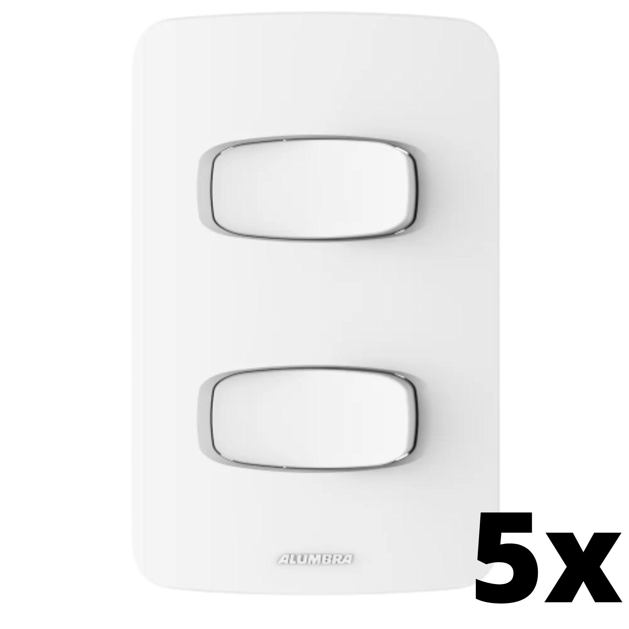 Kit 5 und Gracia 2 Seções de Interruptor Simples Com Placa