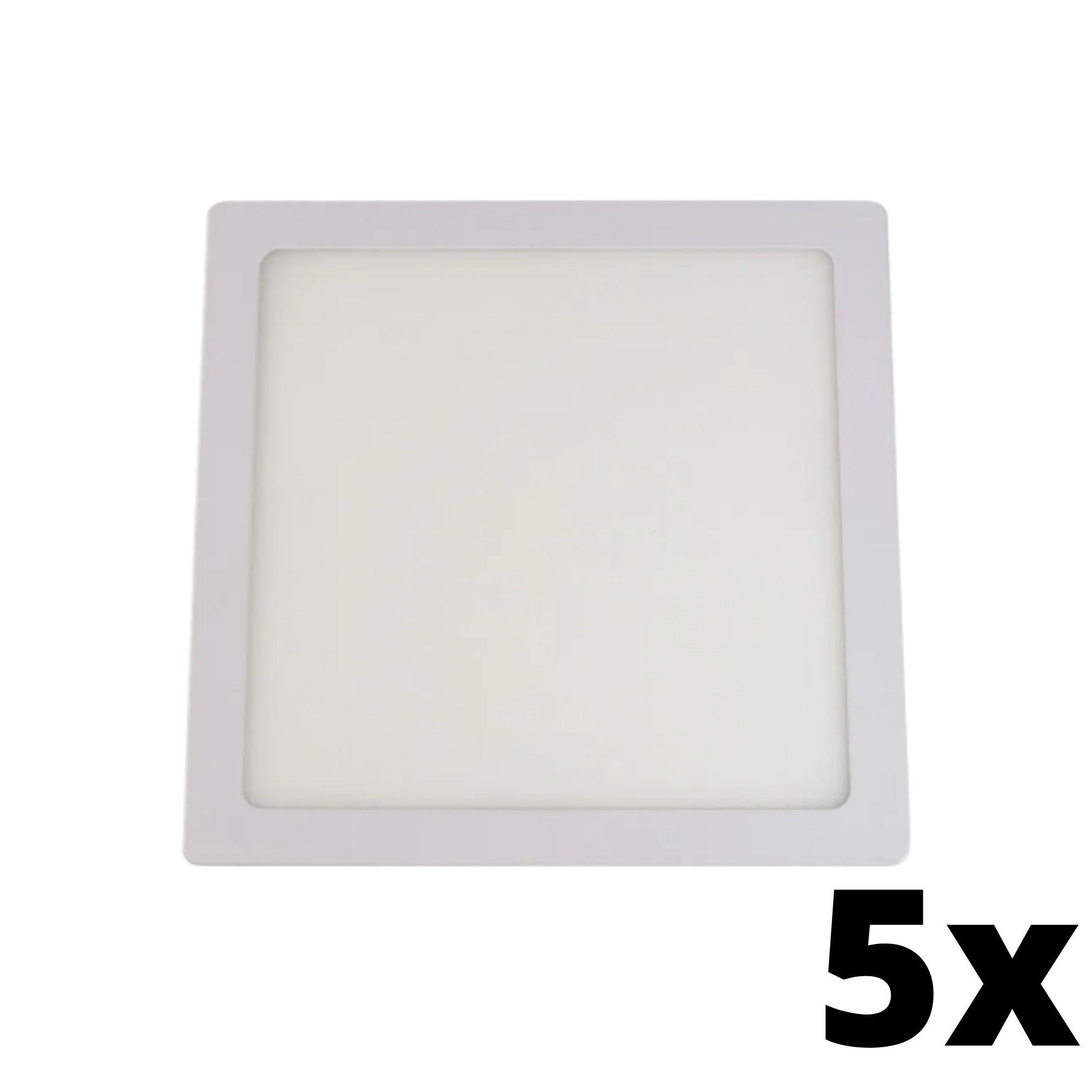 Kit 5 und Painel de Led Embutir 18w Quadrado 6500k