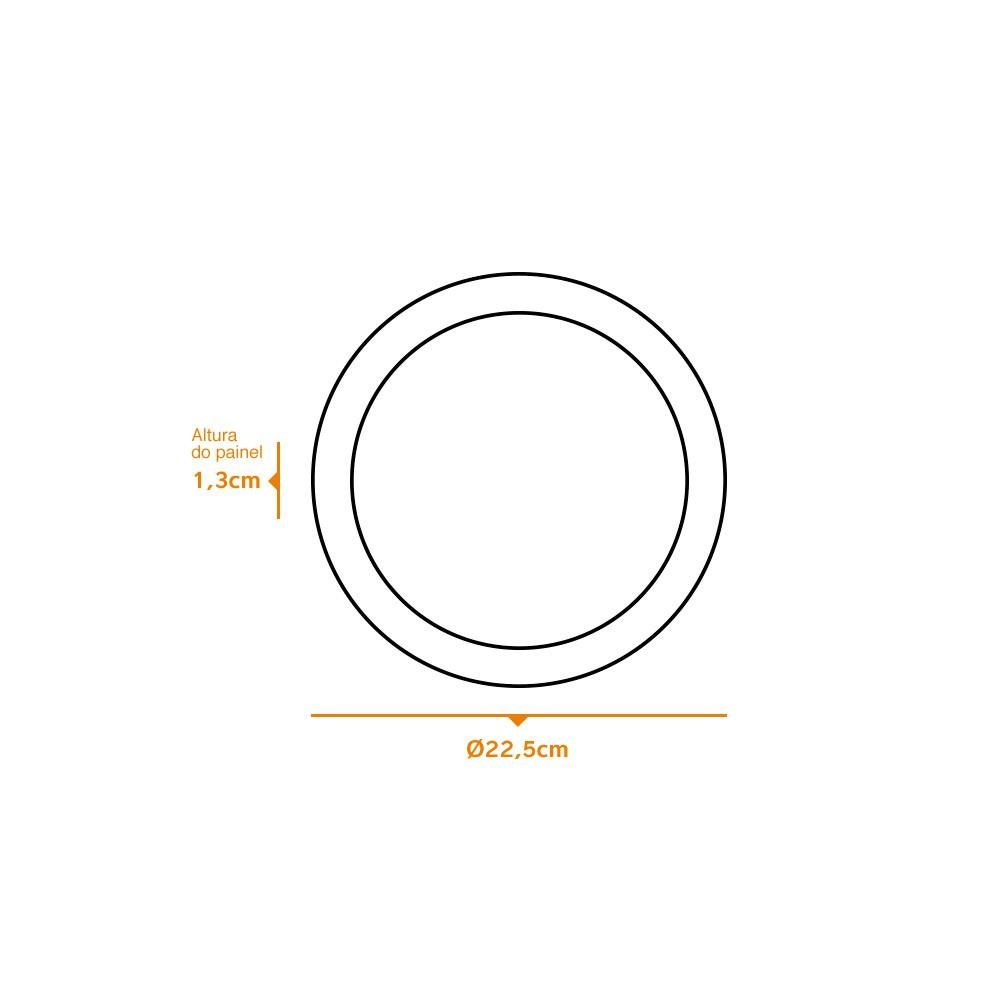 Kit 5 und Painel de Led Embutir 18w Redondo 3000k