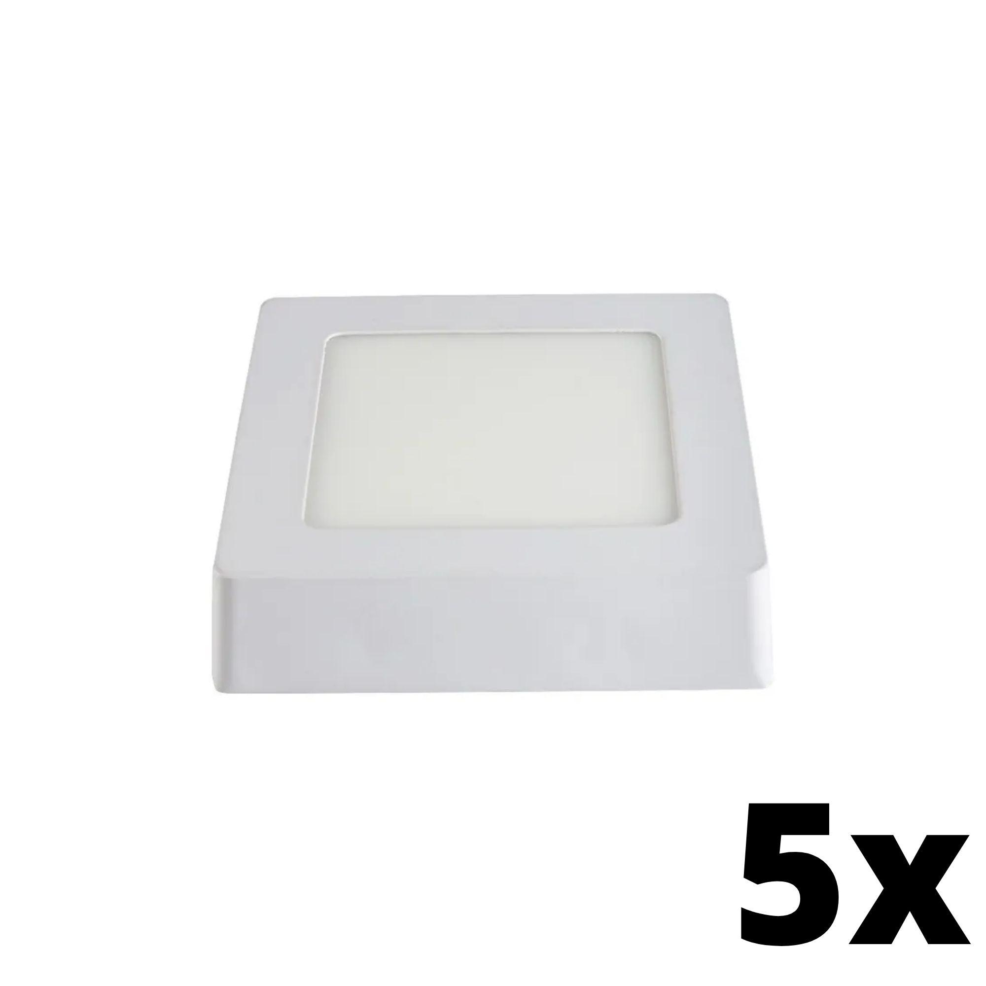 Kit 5 und Painel de Led Sobrepor 6w Quadrado 6500k