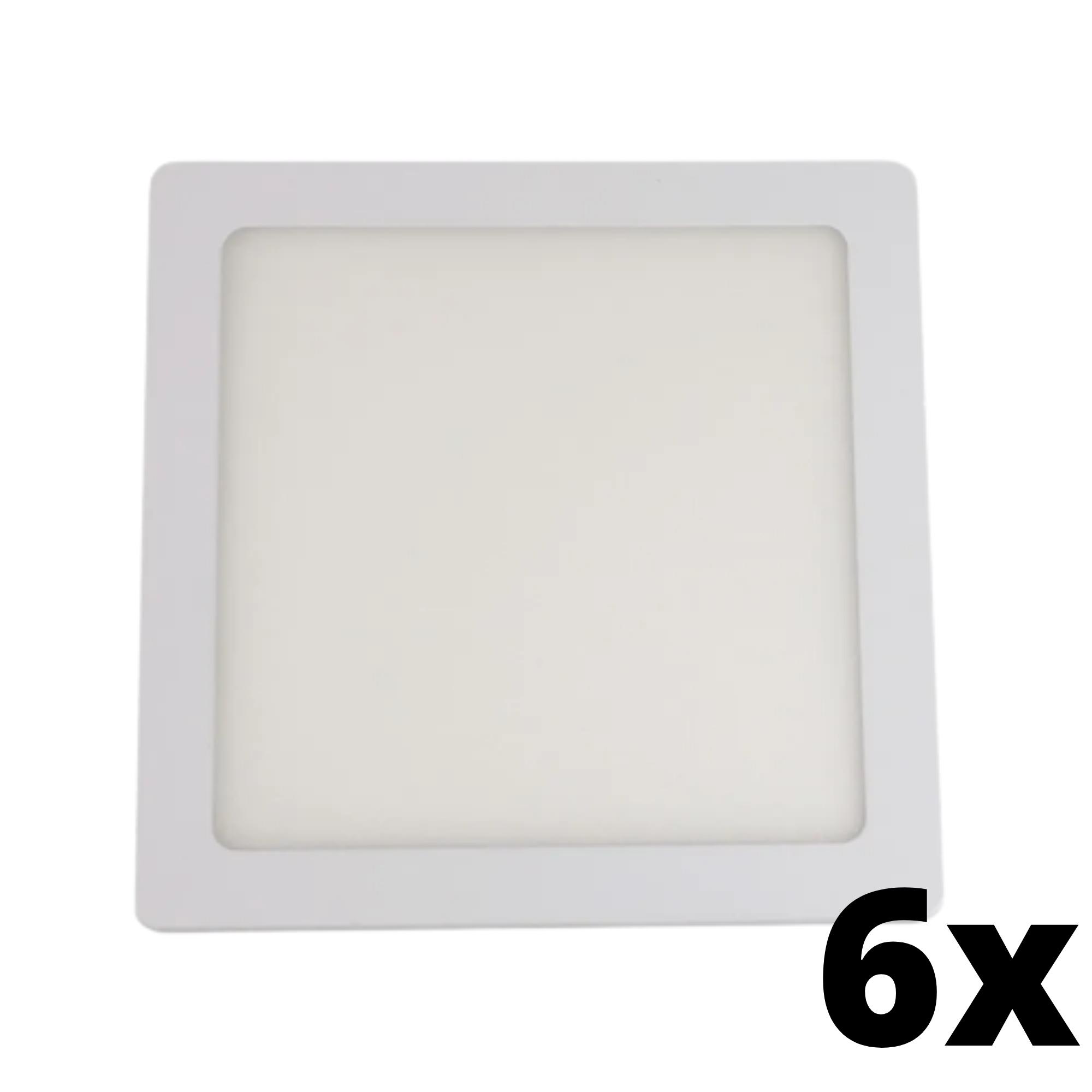 Kit 6 und Painel de Led Embutir 12w Quadrado 3000k