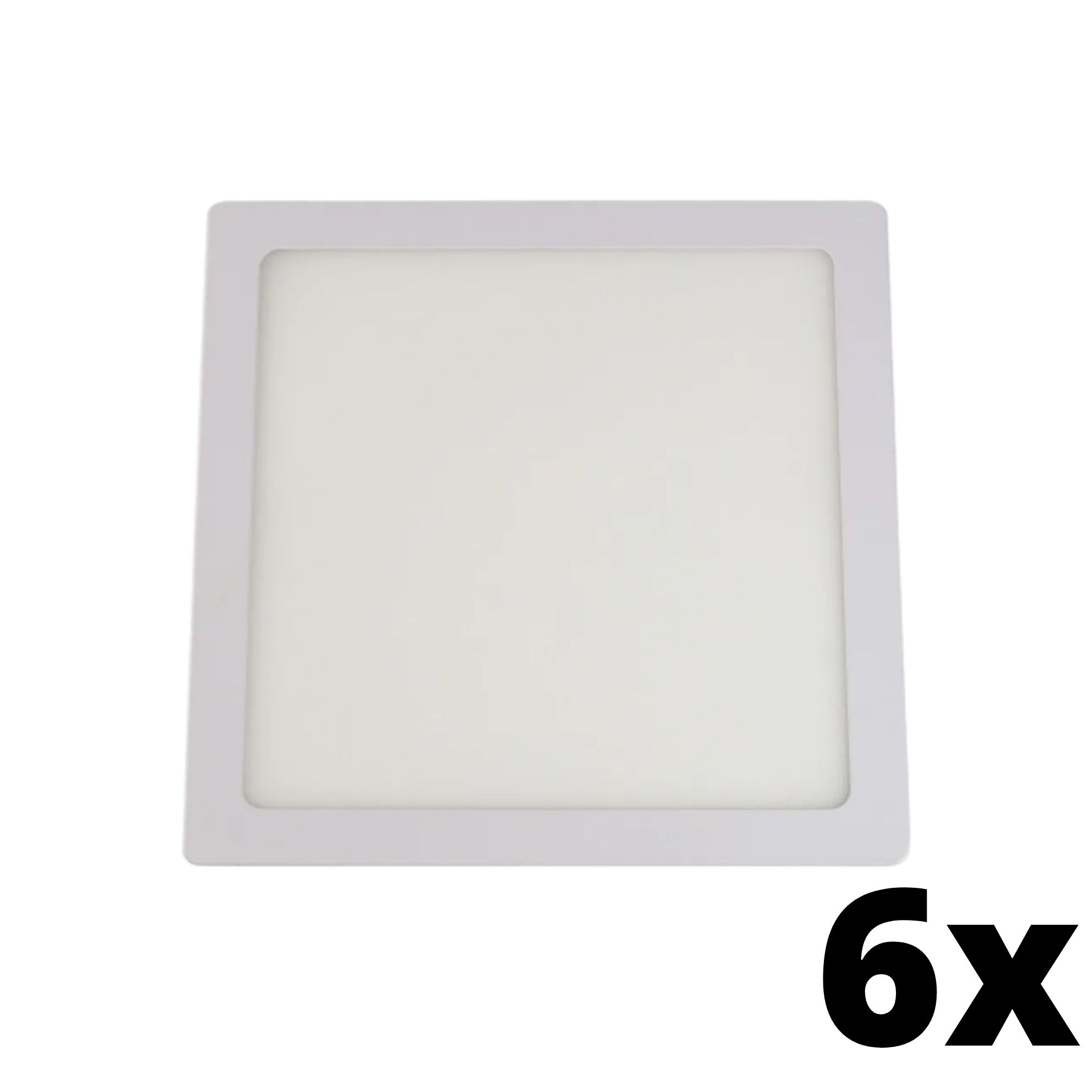 Kit 6 und Painel de Led Embutir 18w Quadrado 6500k