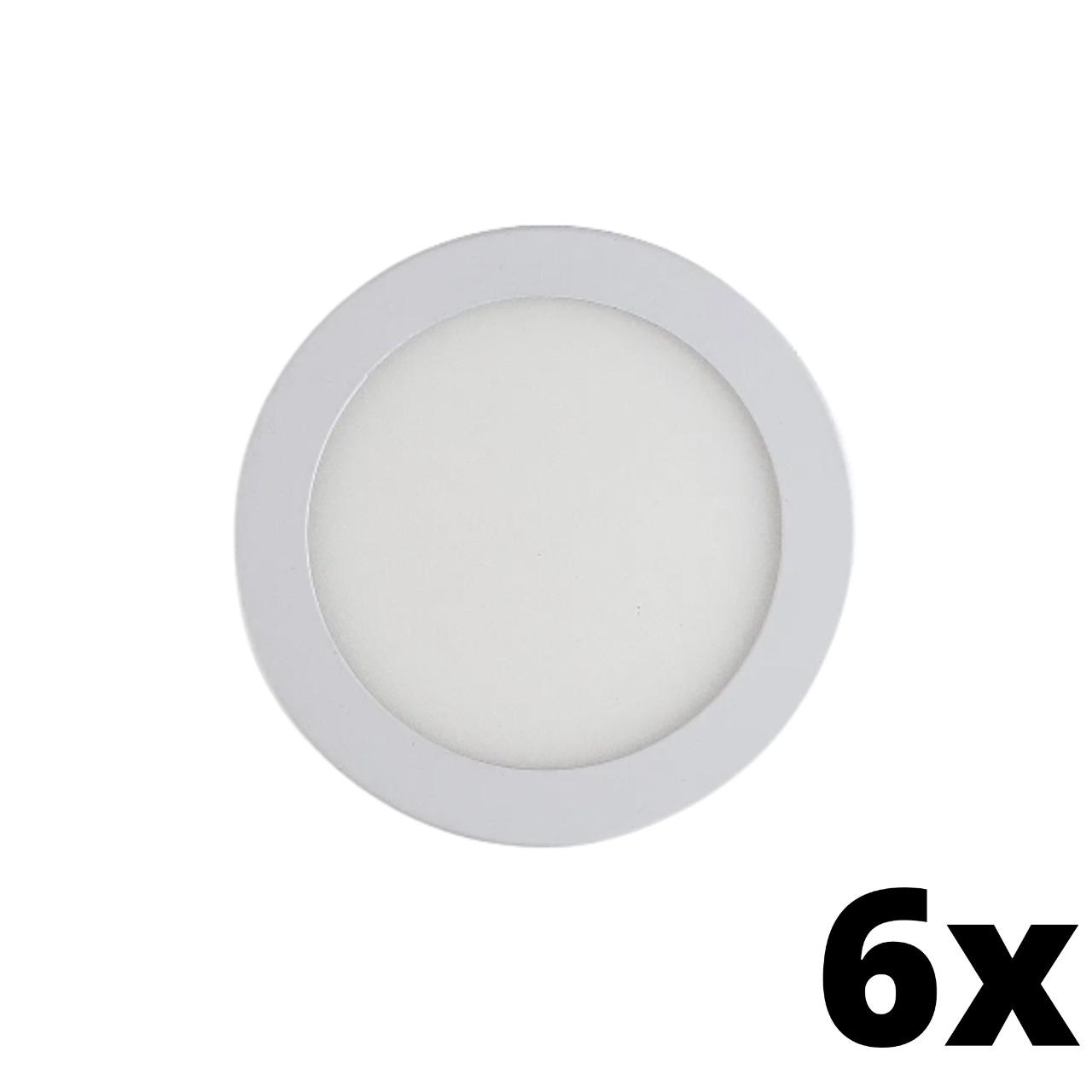 Kit 6 und Painel de Led Embutir 24w Redondo 6500k