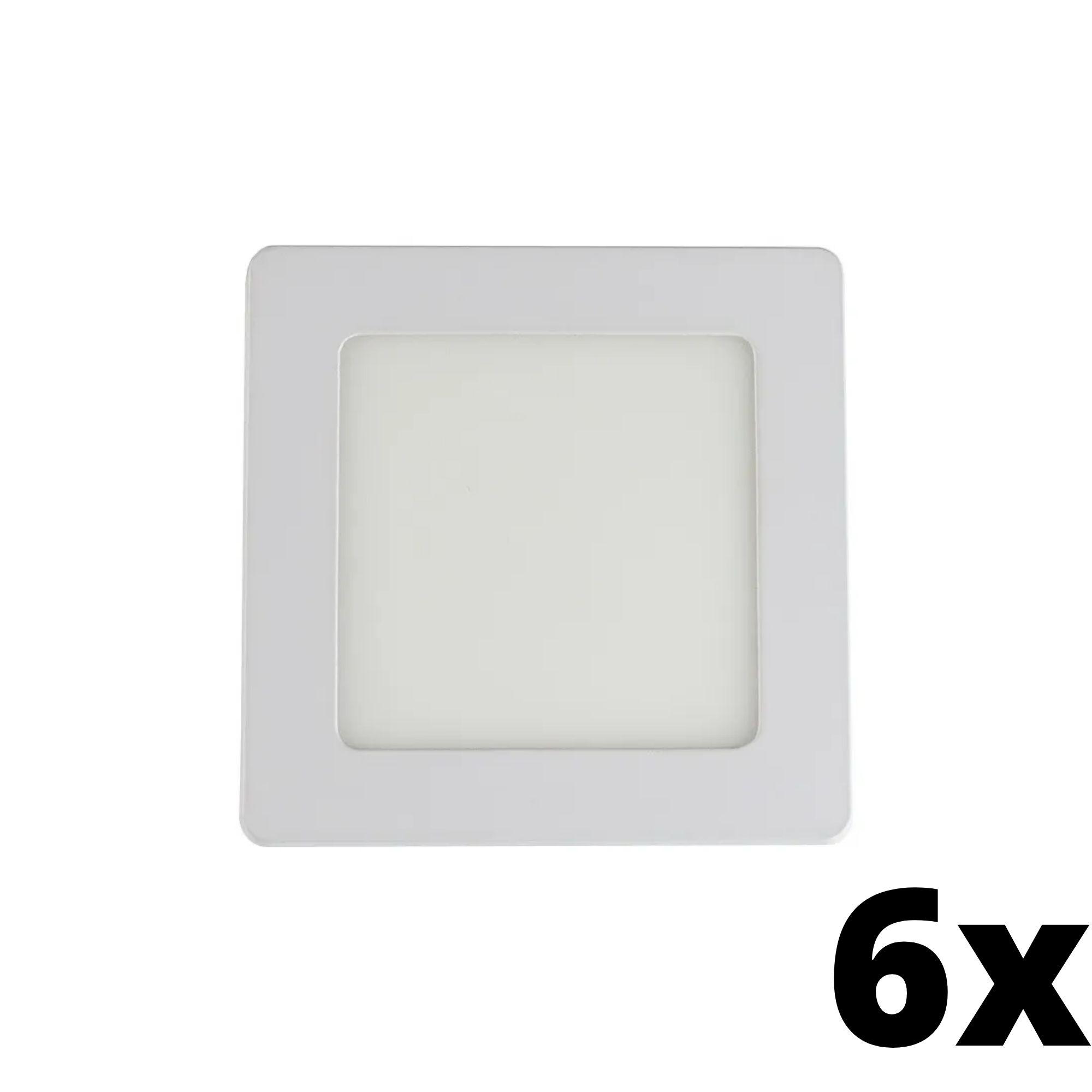Kit 6 und Painel de Led Embutir 6w Quadrado 3000k