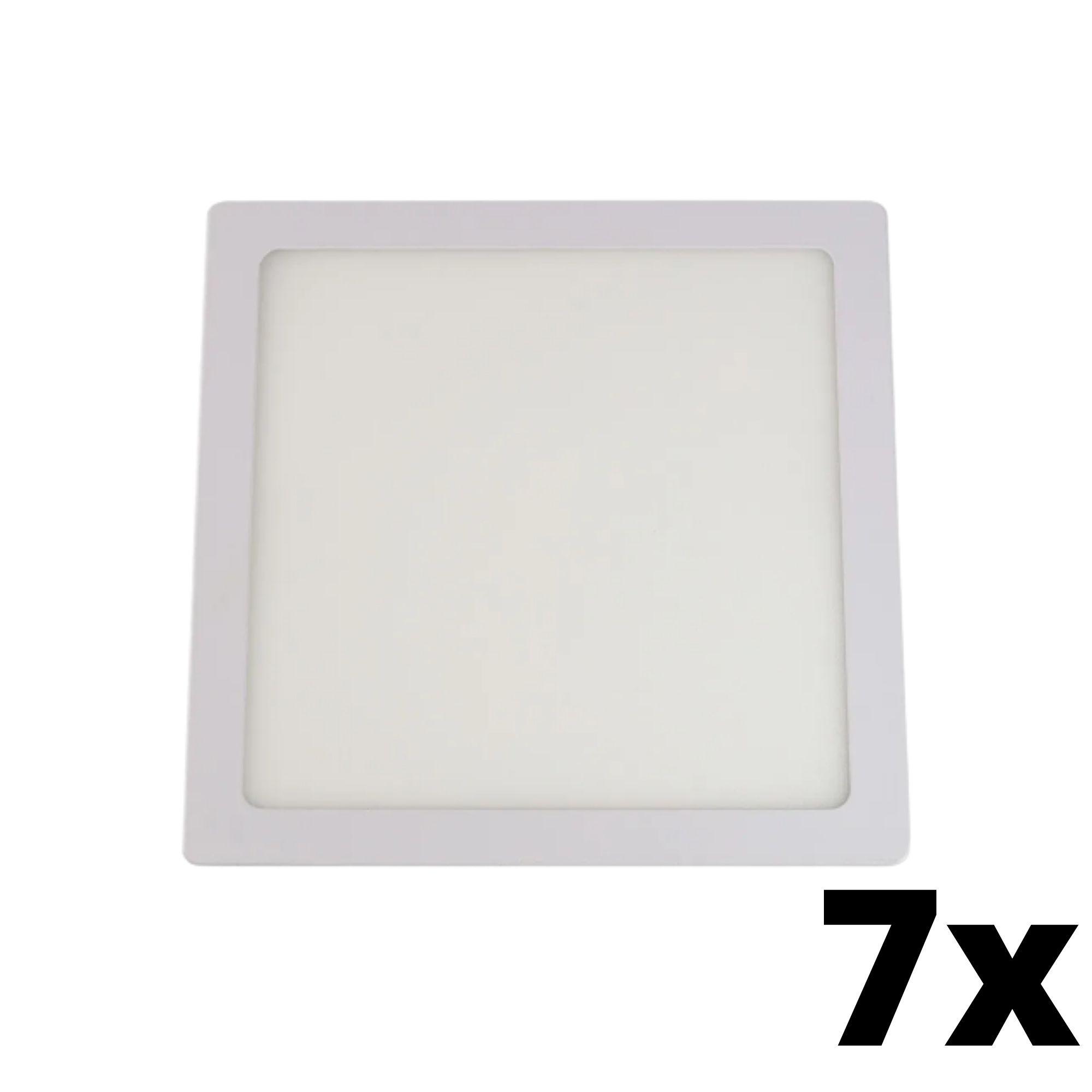 Kit 7 und Painel de Led Embutir 18w Quadrado 6500k