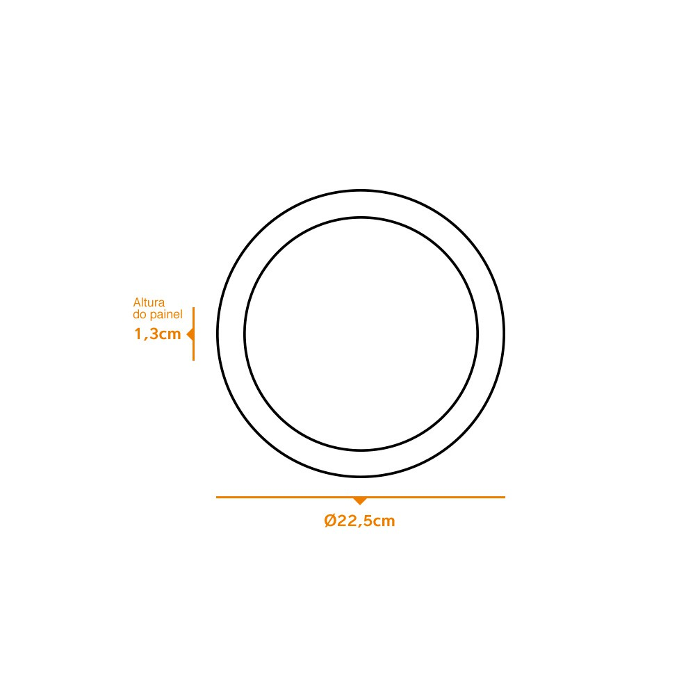 Kit 7 und Painel de Led Embutir 18w Redondo 3000k