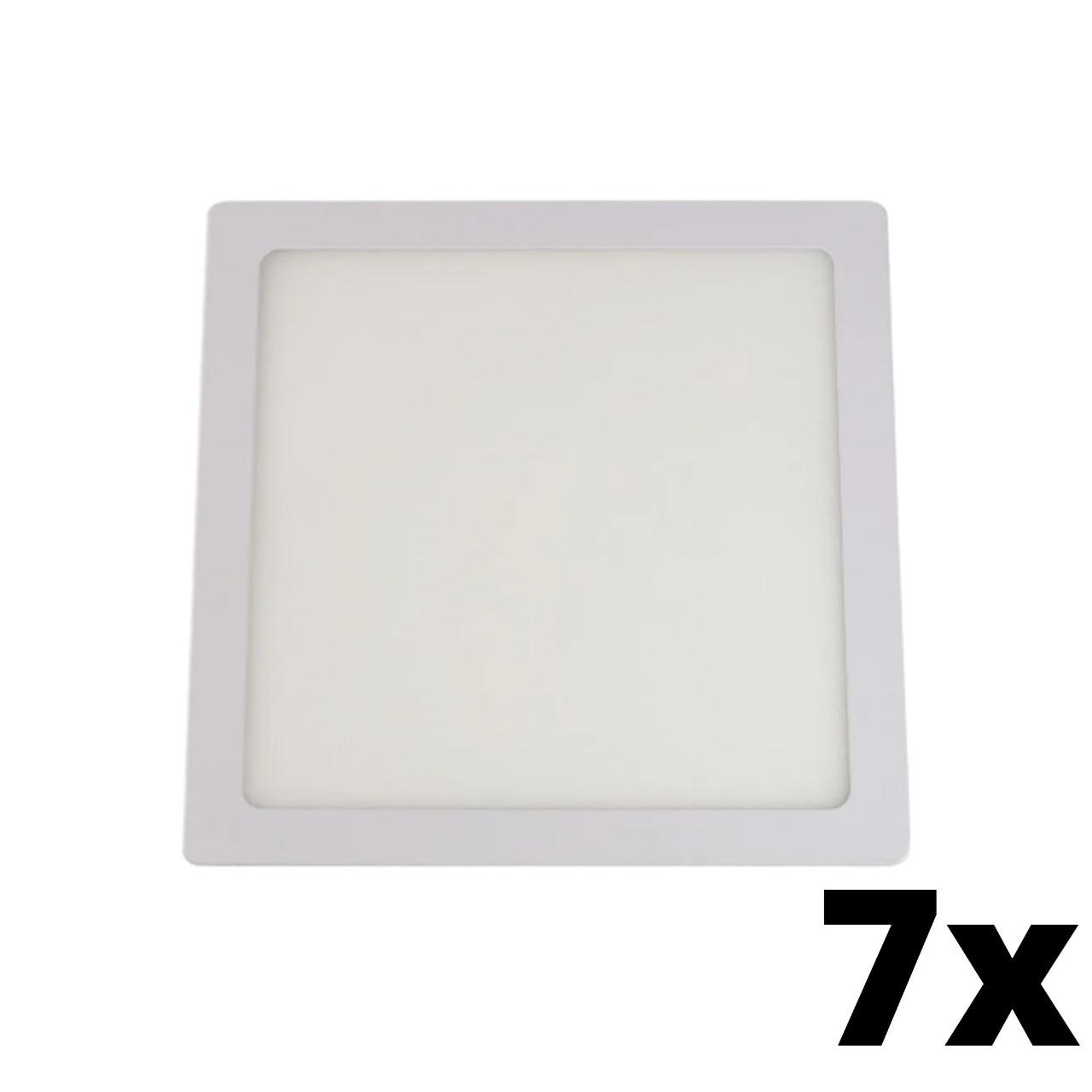 Kit 7 und Painel de Led Embutir 24w Quadrado 6500k