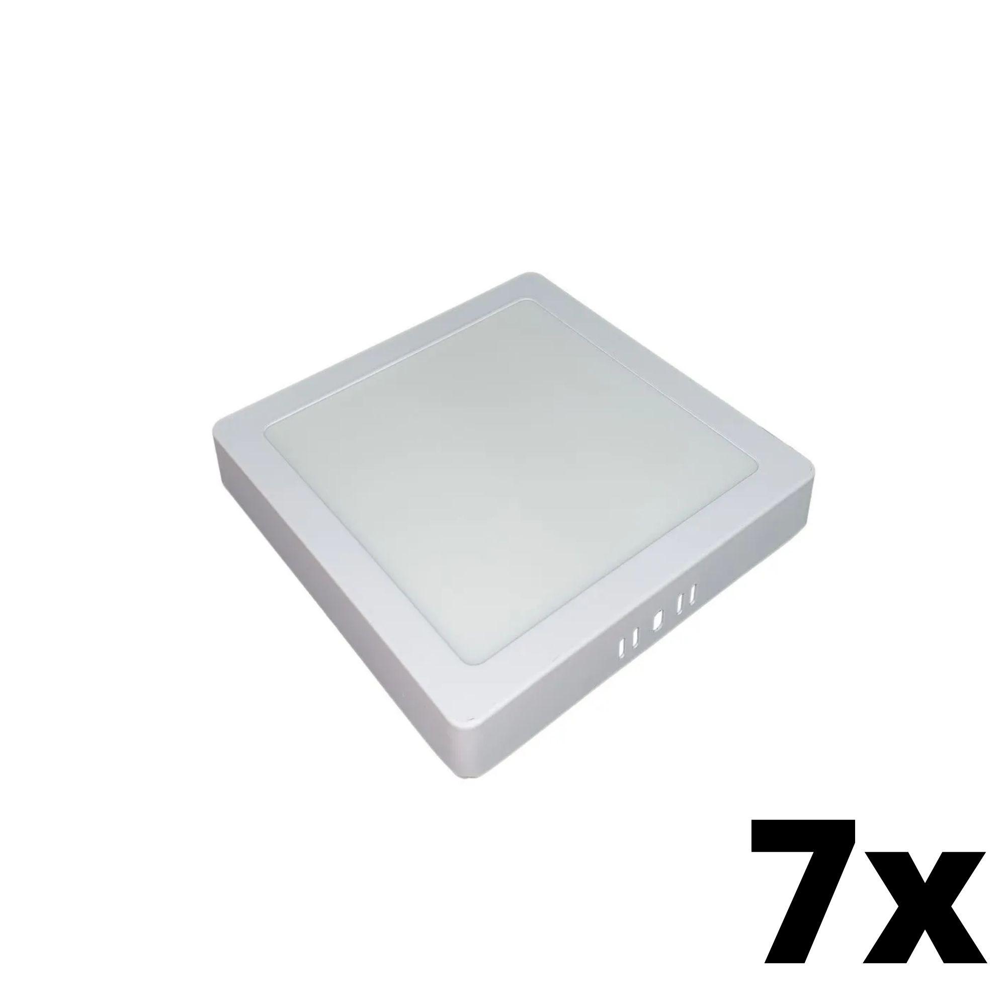 Kit 7 und Painel de Led Sobrepor 12w Quadrado 3000k