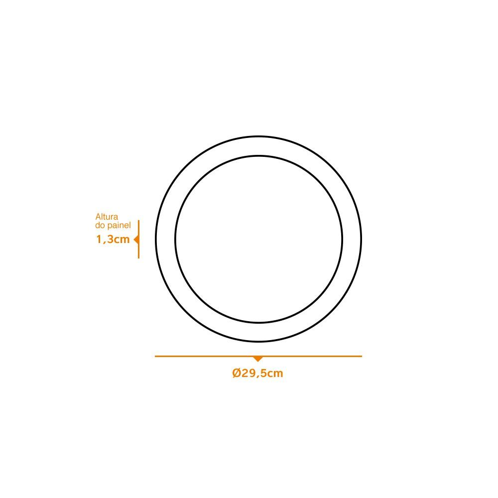Kit 9 und Painel de Led Embutir 24w Redondo 3000k