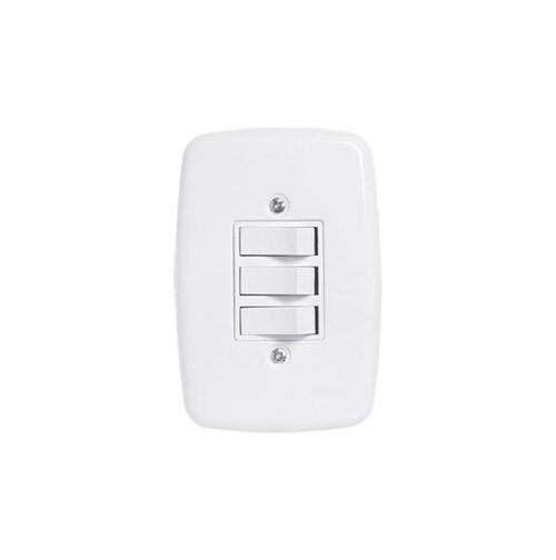 Pluzie 3 Seções de Interruptor Simples Com Placa