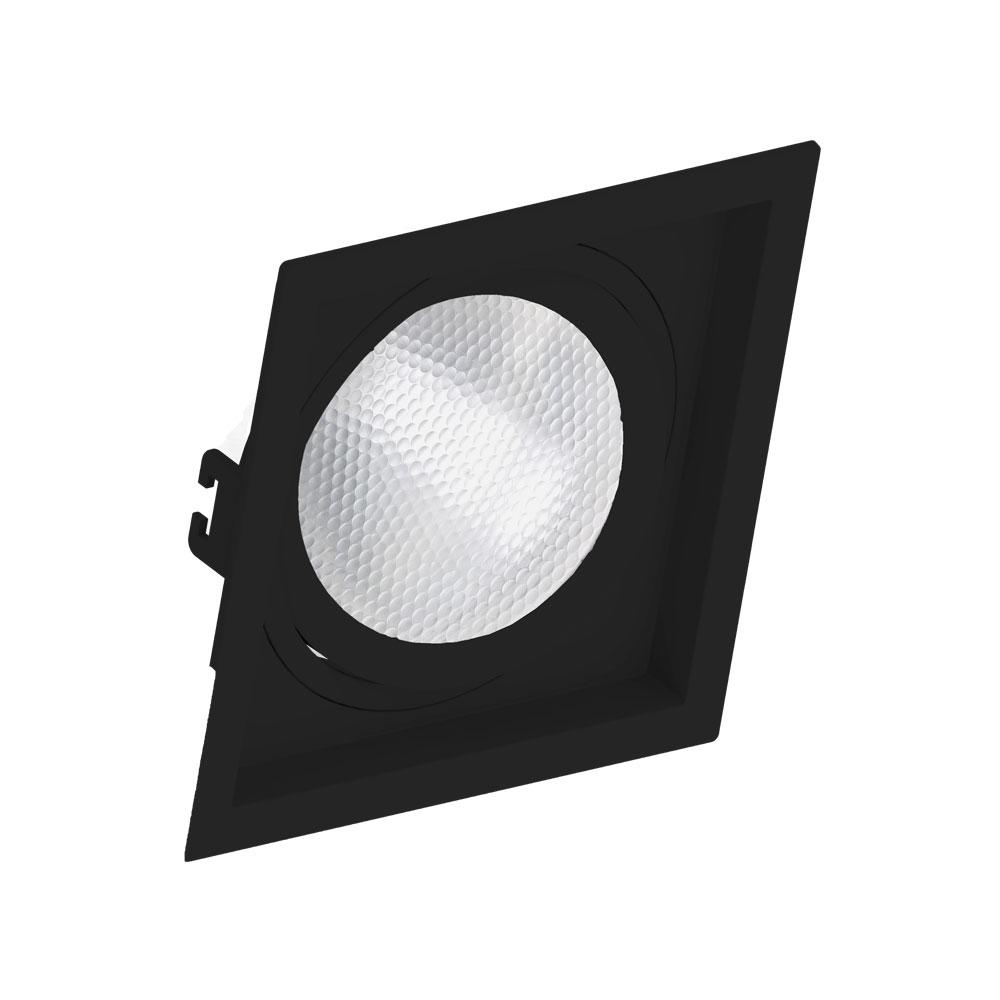 SaveEnergy Spot Preto Emb Quad com Recuo Par30 E27
