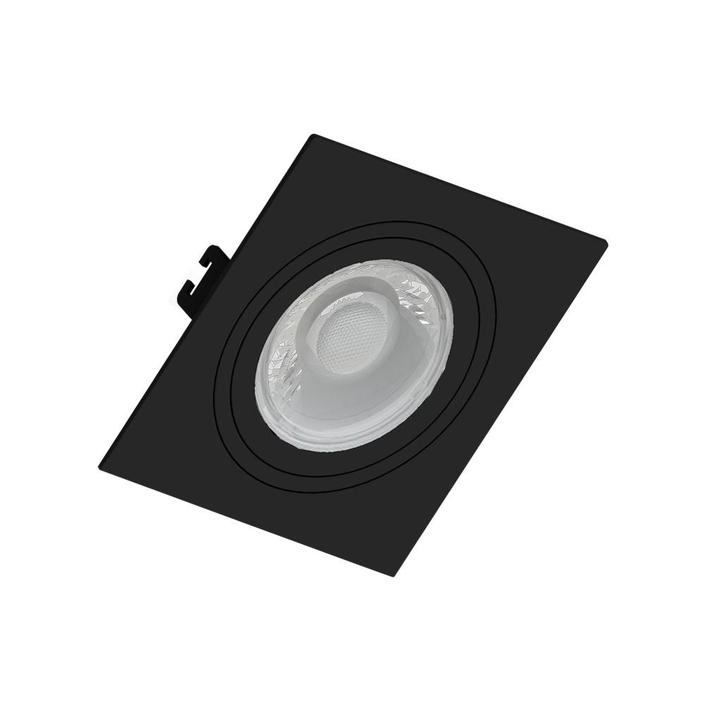 SaveEnergy Spot Preto Embutir Quadrado Face Plana Par20 E27
