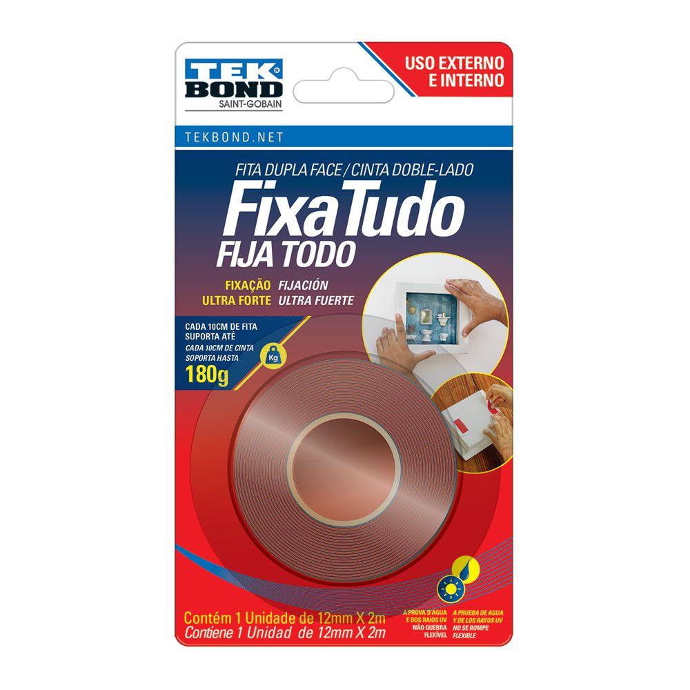Tekbond Fita Dupla Face Acrílica 12mm X 2 Metros Extra Forte (Vermelha)