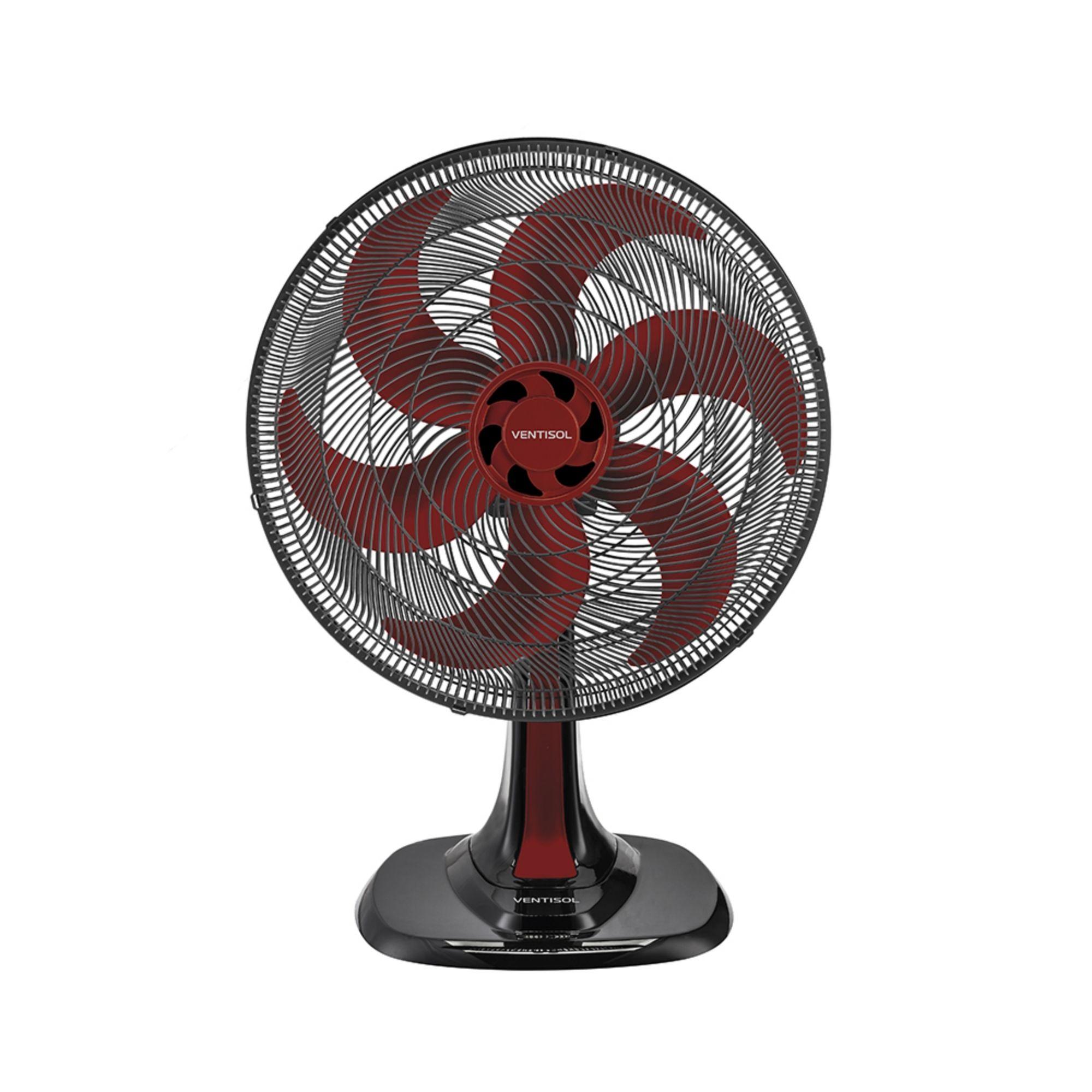 Ventisol Ventilador de Mesa 40cm 127v Vermelho Premium 6 Pás