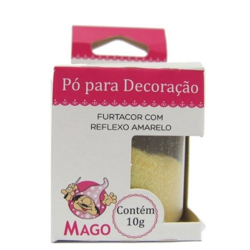 PO PARA DECORAÇÃO FURTACOR COM REFLEXO AMARELO 10G MAGO