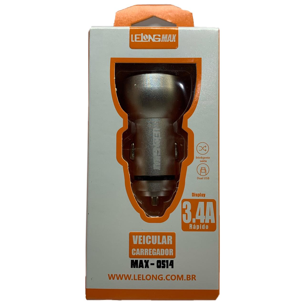 Carregador Veicular Lelong max 3.4a 2 portas USB